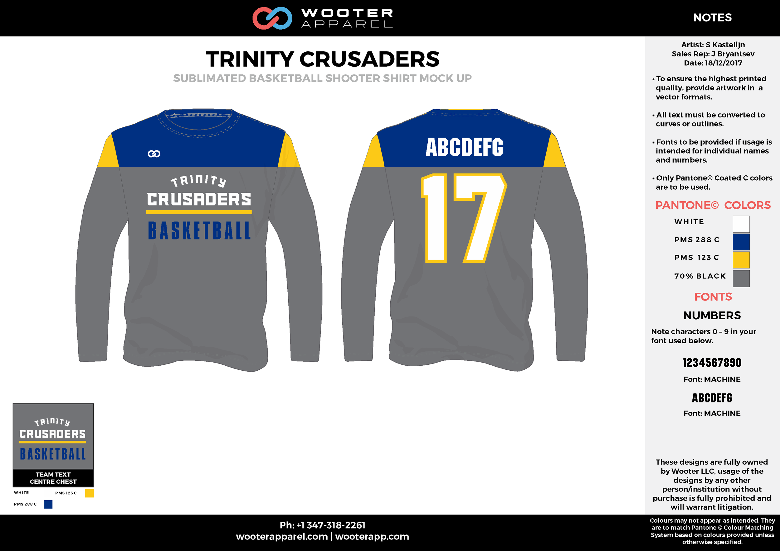 TRINITY CRUSADERS blue gray yellow white Basketball Long Sleeve Shooting Shirt