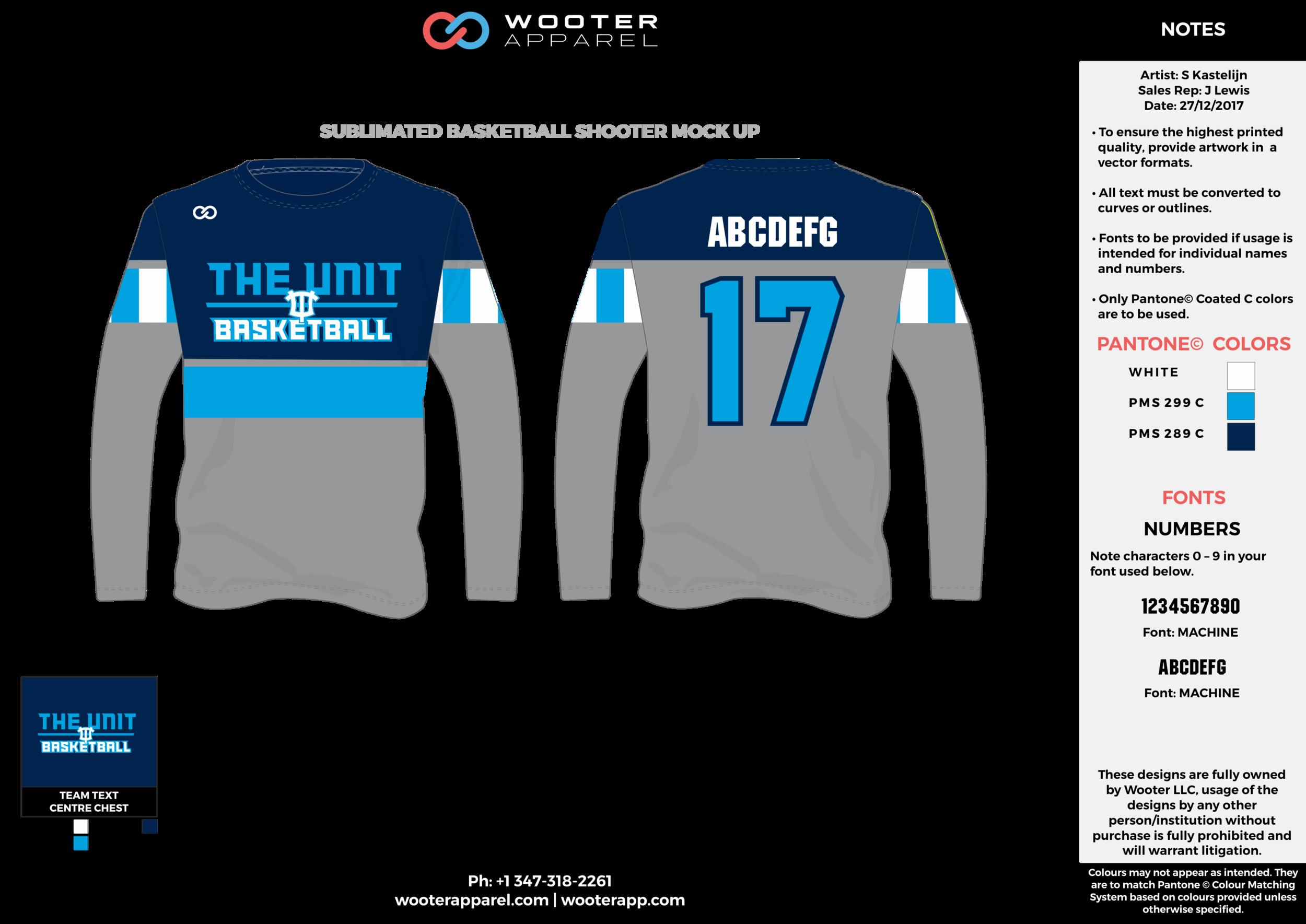 THE UNIT gray blue white dark blue Basketball Long Sleeve Shooting Shirt