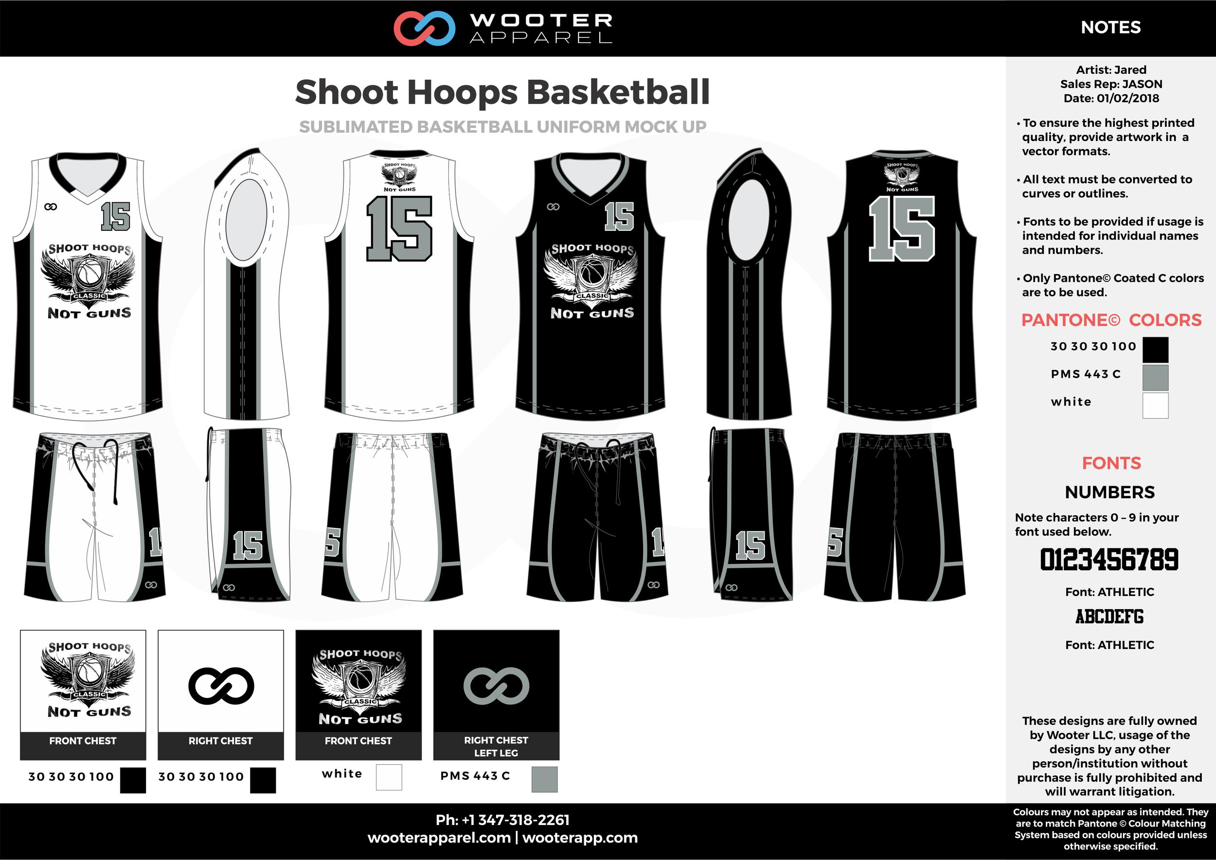 SHOOT HOOPS BASKETBALL black white gray Basketball Long Sleeve Shooting Shirt