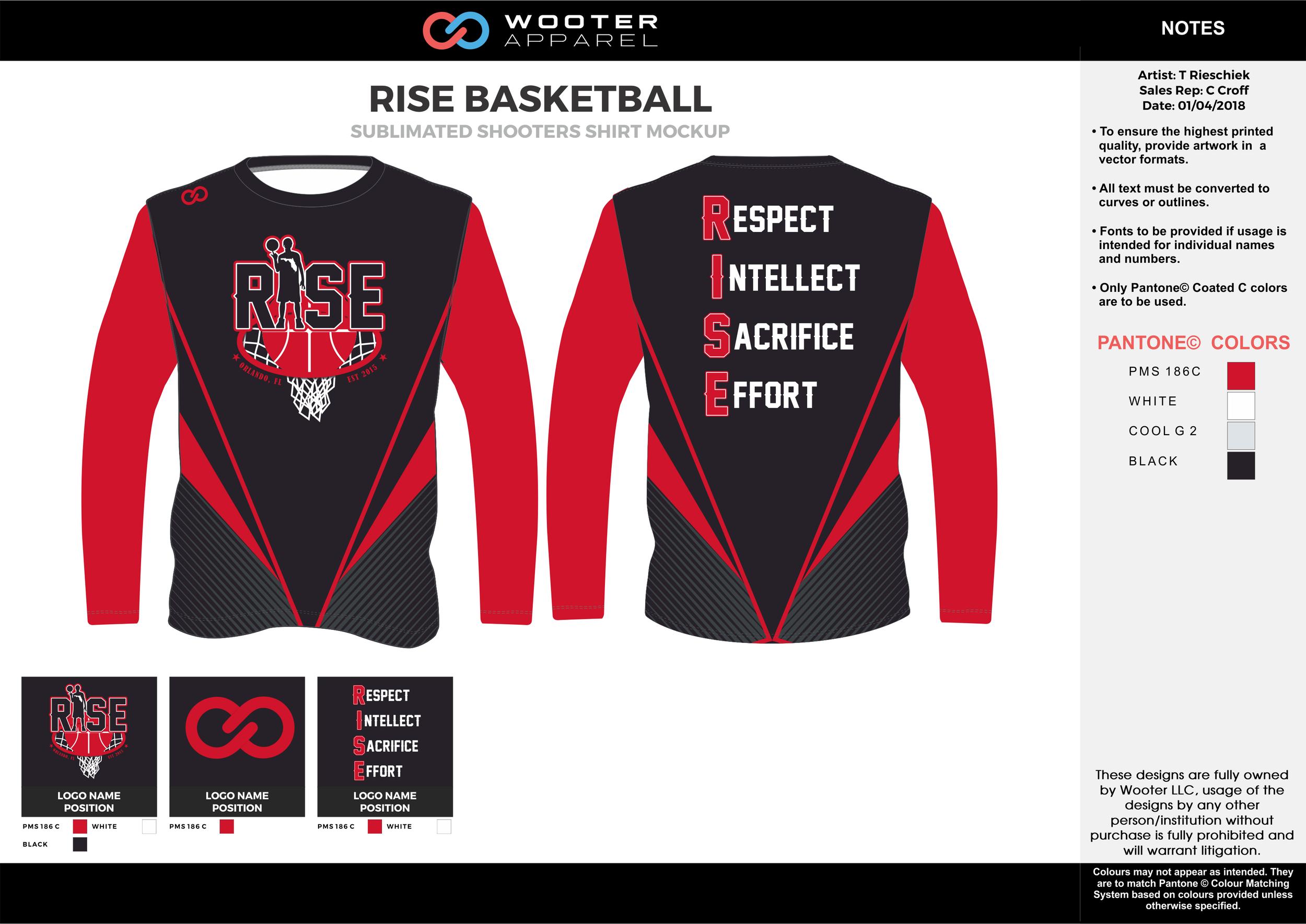 RISE BASKETBALL red black white gray Basketball Long Sleeve Shooting Shirt