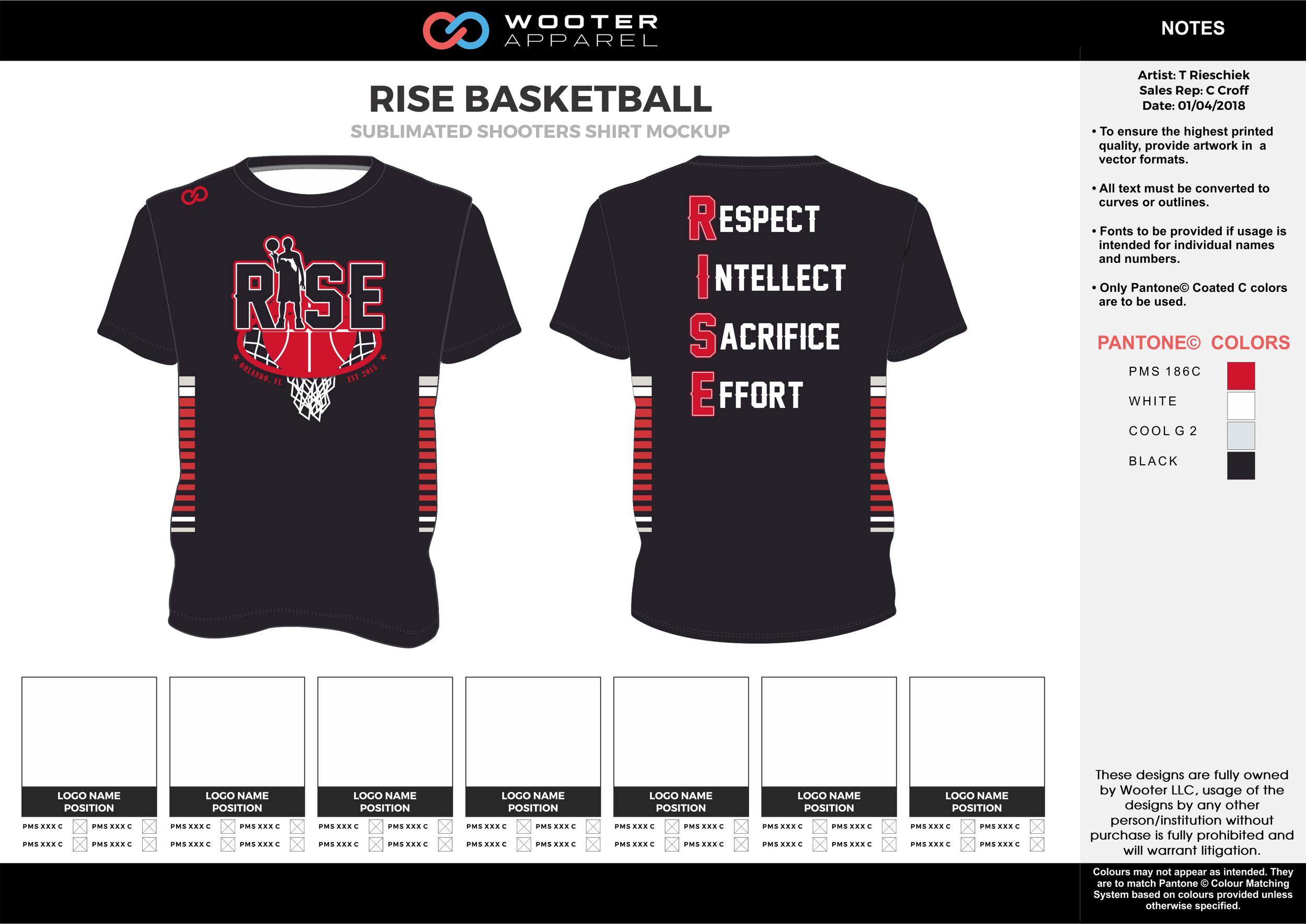 RISE BASKETBALL black red gray white Basketball Short Sleeve Shooting Shirt