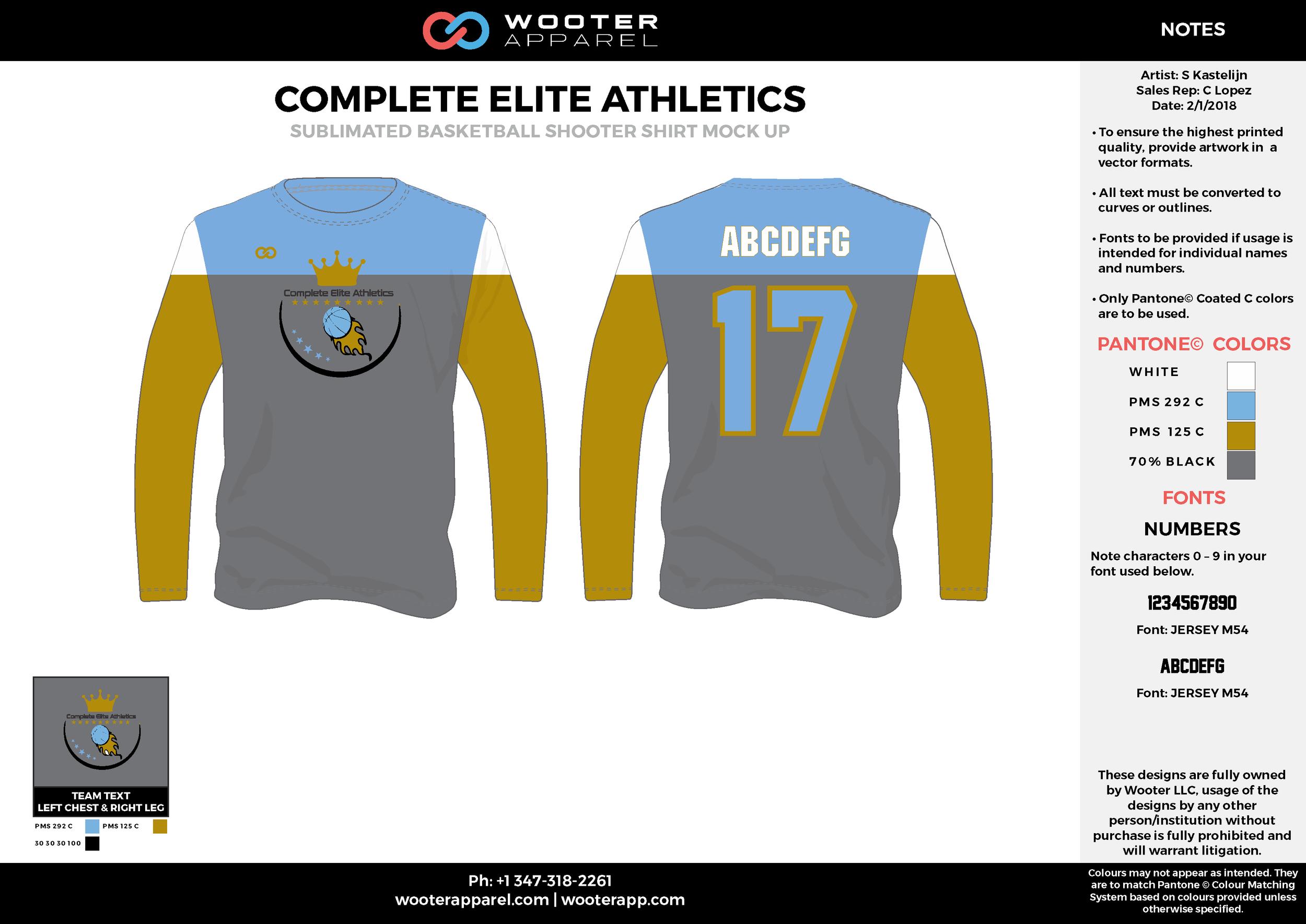 COMPLETE ELITE ATHLETICS blue gray yellow white Basketball Long Sleeve Shooting Shirt