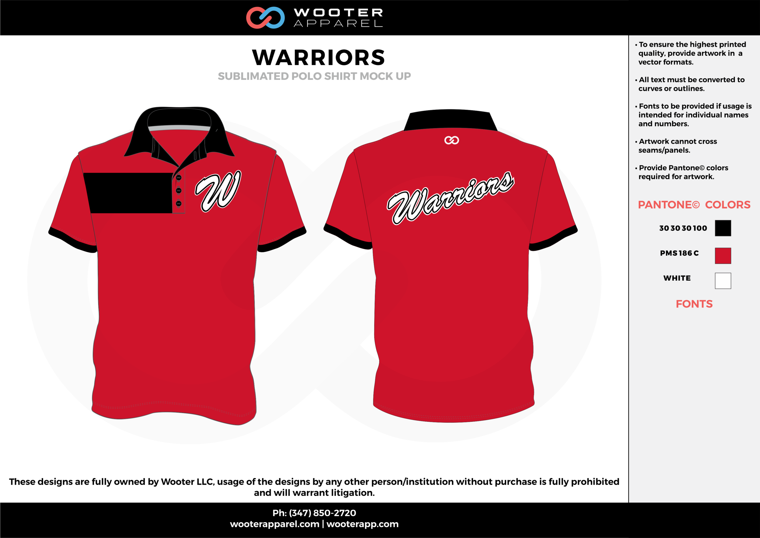 Warriors Red black and white sublimated Polo Shirts