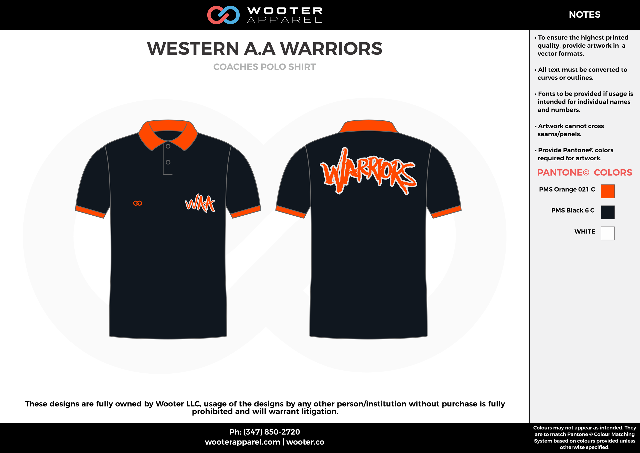 WESTERN A.A WARRIORS Black and Orange Sublimated Polo Shirts