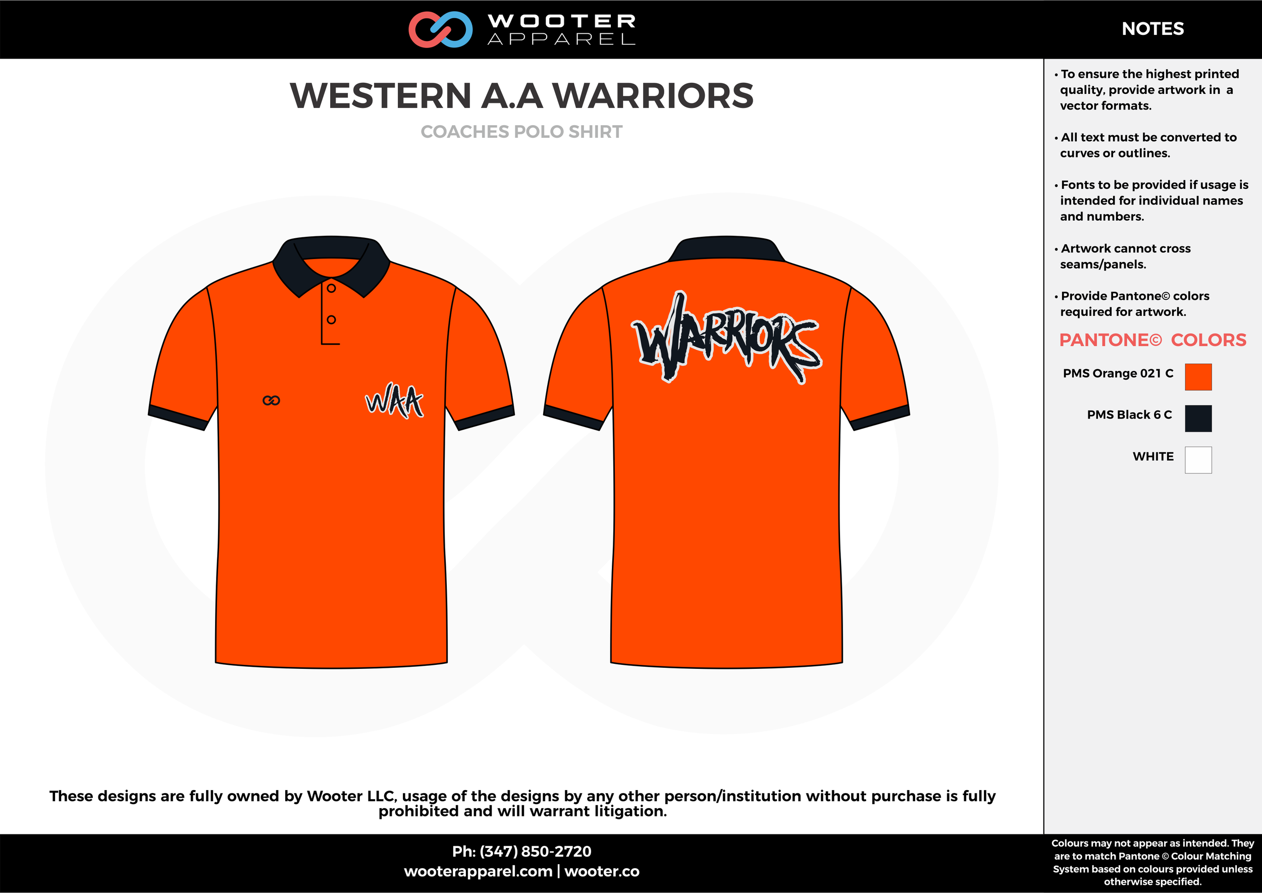 WESTERN A.A WARRIORS ORANGE Black and White Sublimated Polo Shirts