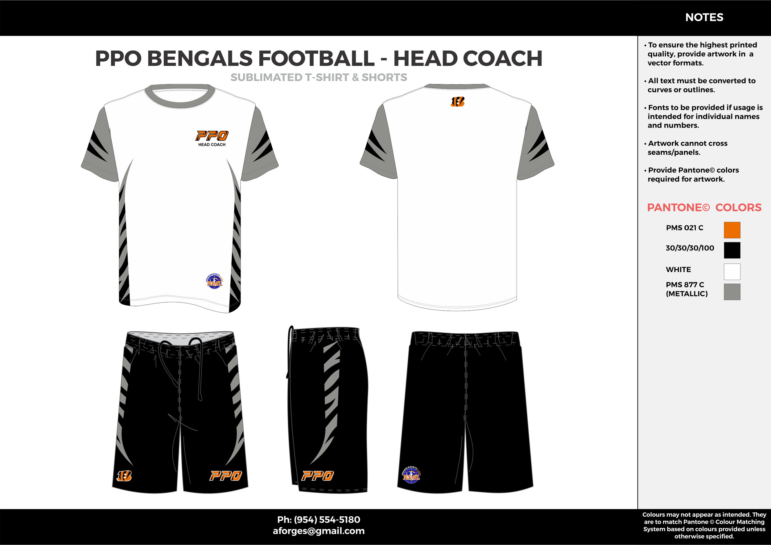 PPO BENGALS FOOTBALL- HEAD COACH White black gray orange Football uniforms jerseys and shorts