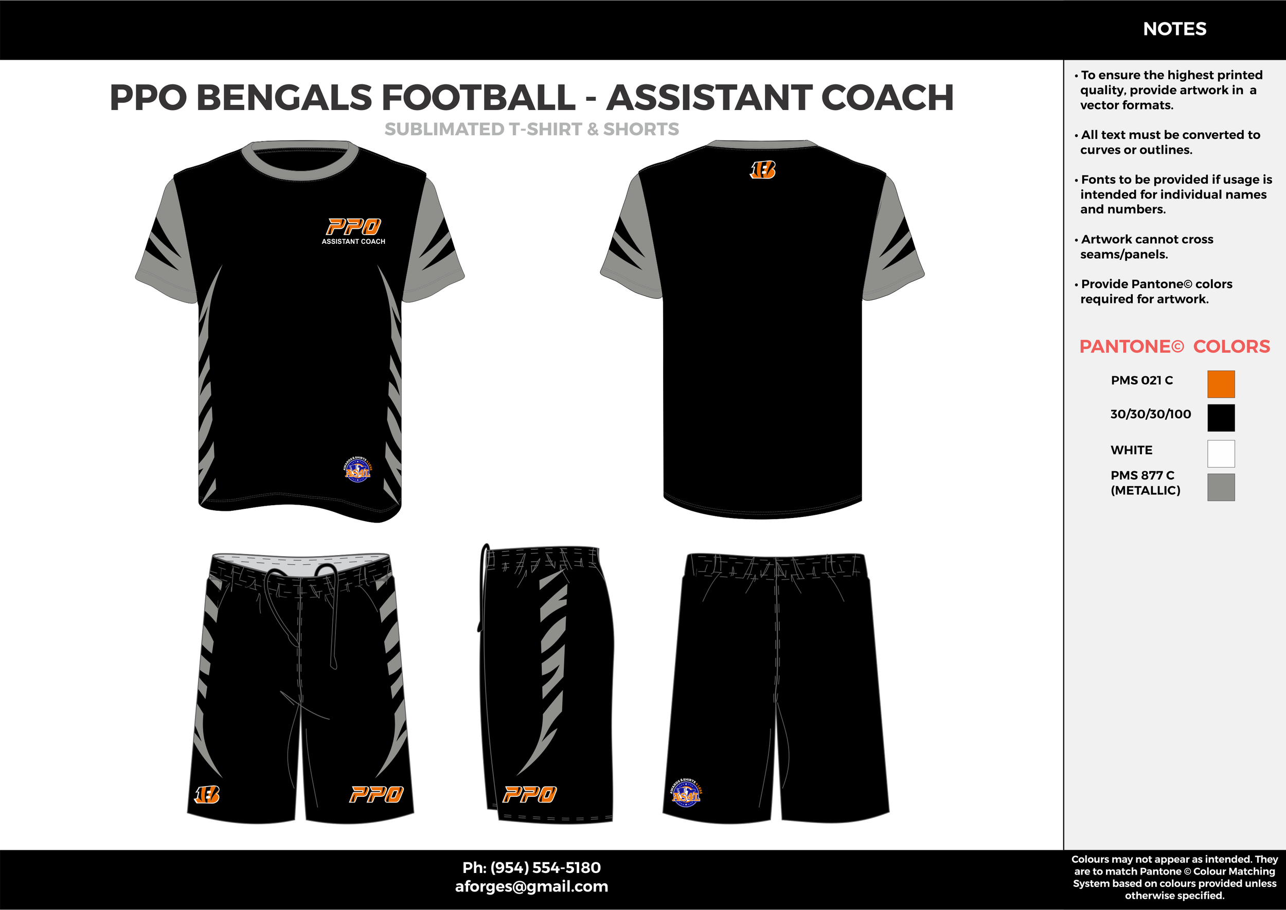 PPO BENGALS FOOTBALL - ASSISTANT COACH Black Gray Orange Football uniforms jerseys and shorts