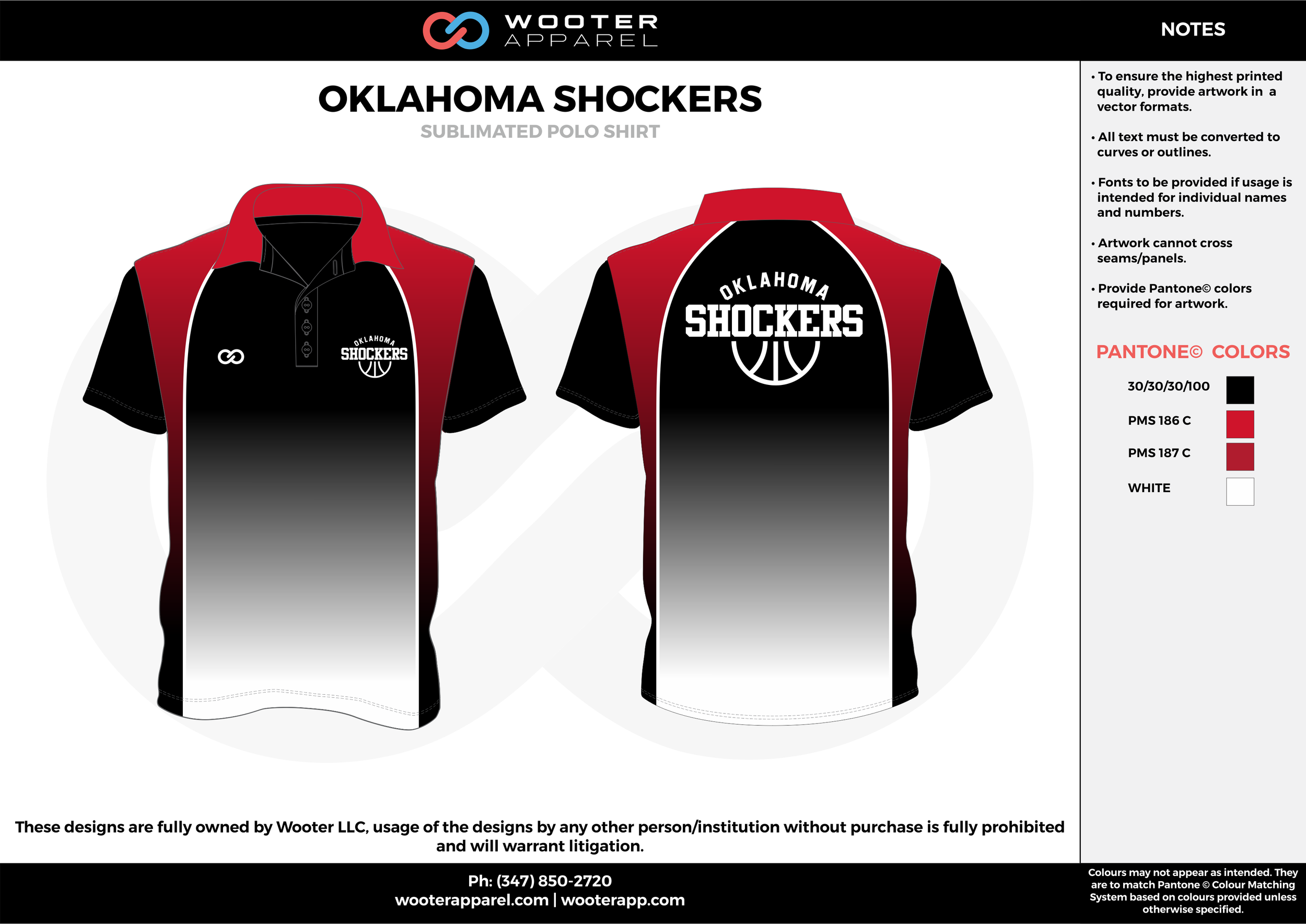 OKLAHOMA SHOCKERS Red White and Black Sublimated Polo Shirts