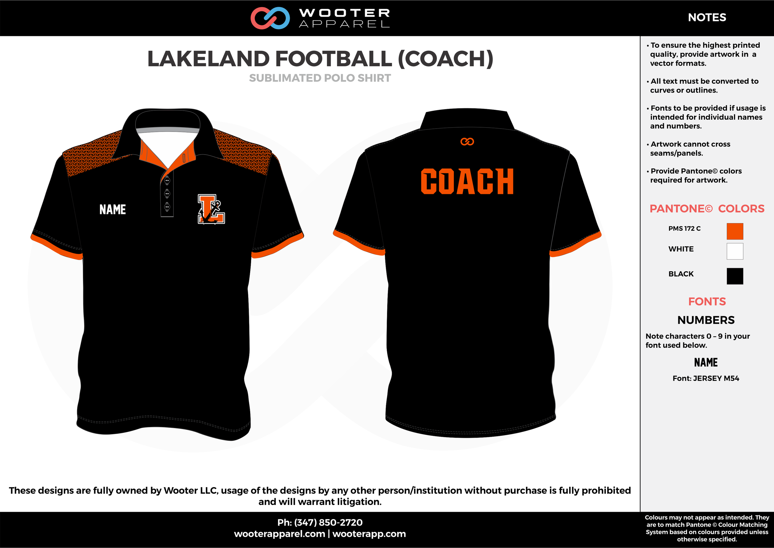 LAKELAND FOOTBALL Black Orange and White Sublimated Polo Shirts