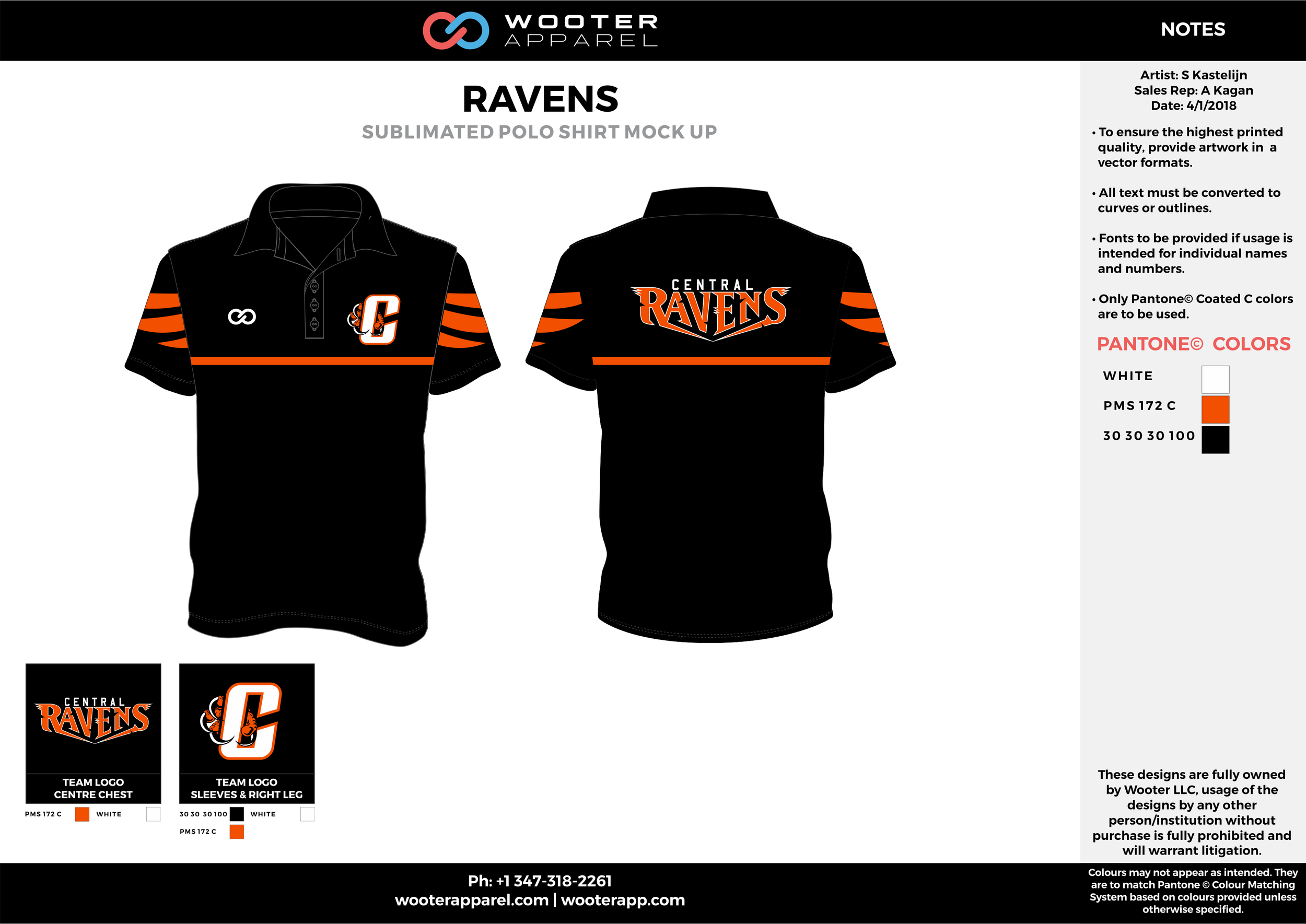 RAVENS Black Orange and White Sublimated Polo Shirts