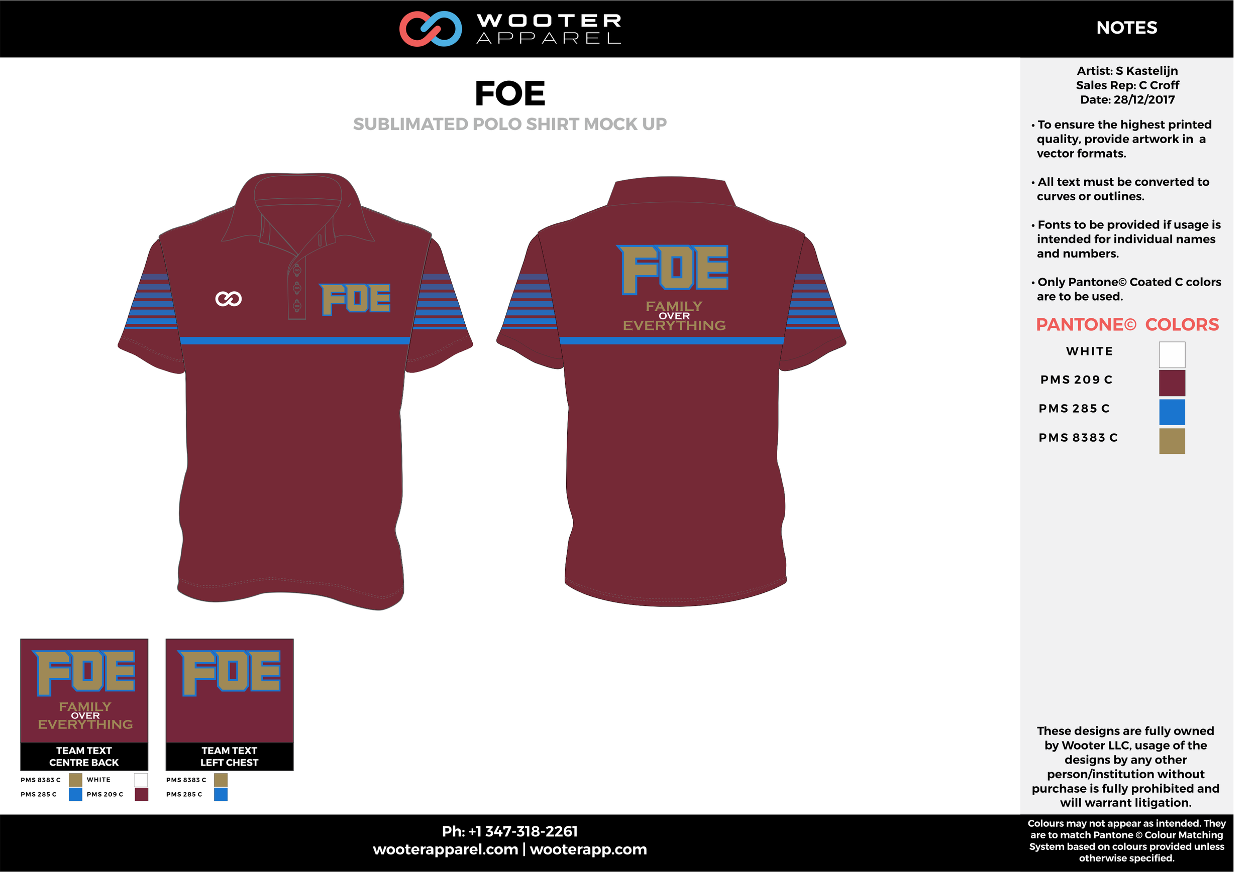 FOE Maroon Blue and Brown Sublimated Polo Shirts