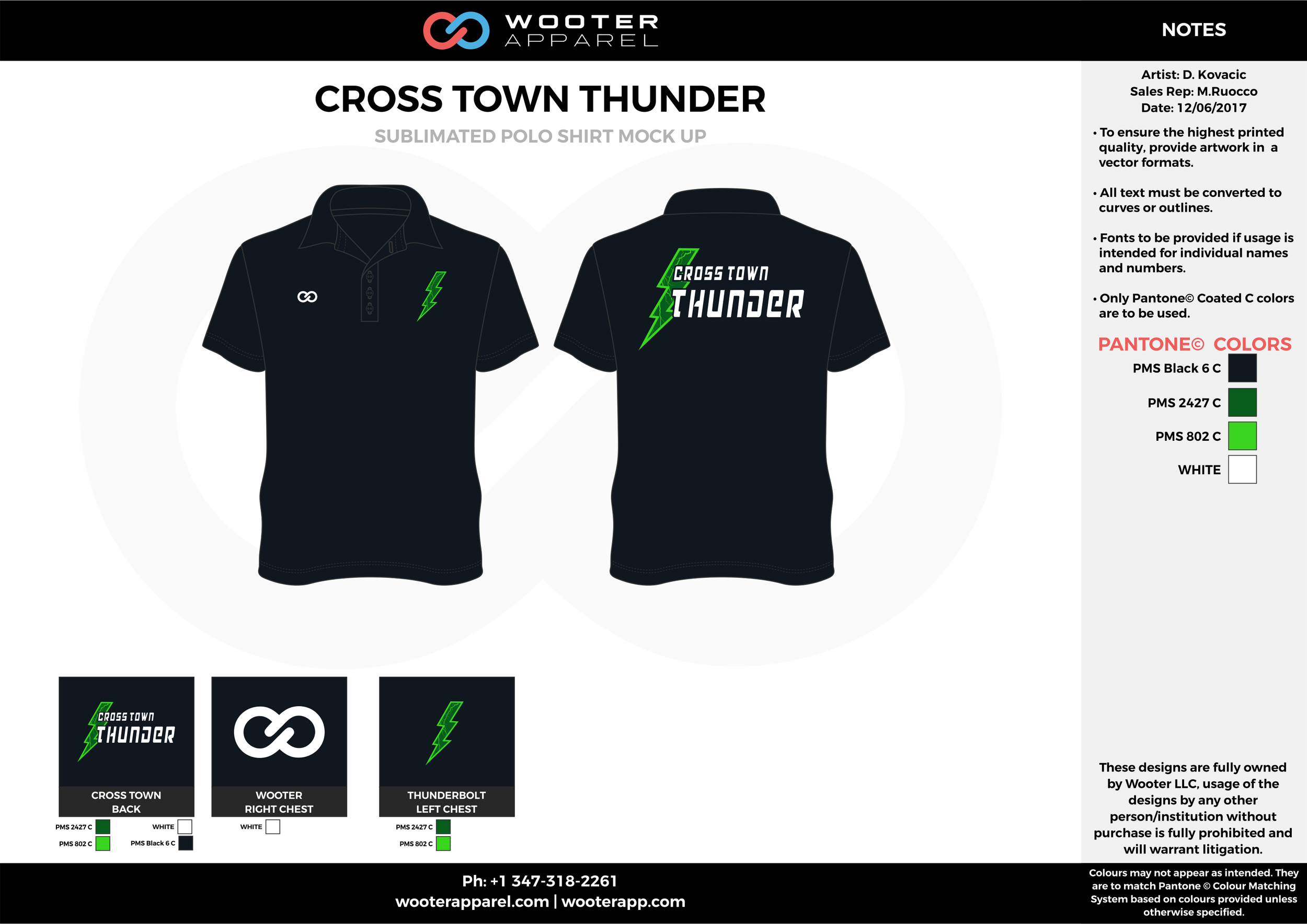 CROSS TOWN THUNDER Black Green and White Sublimated Polo Shirts