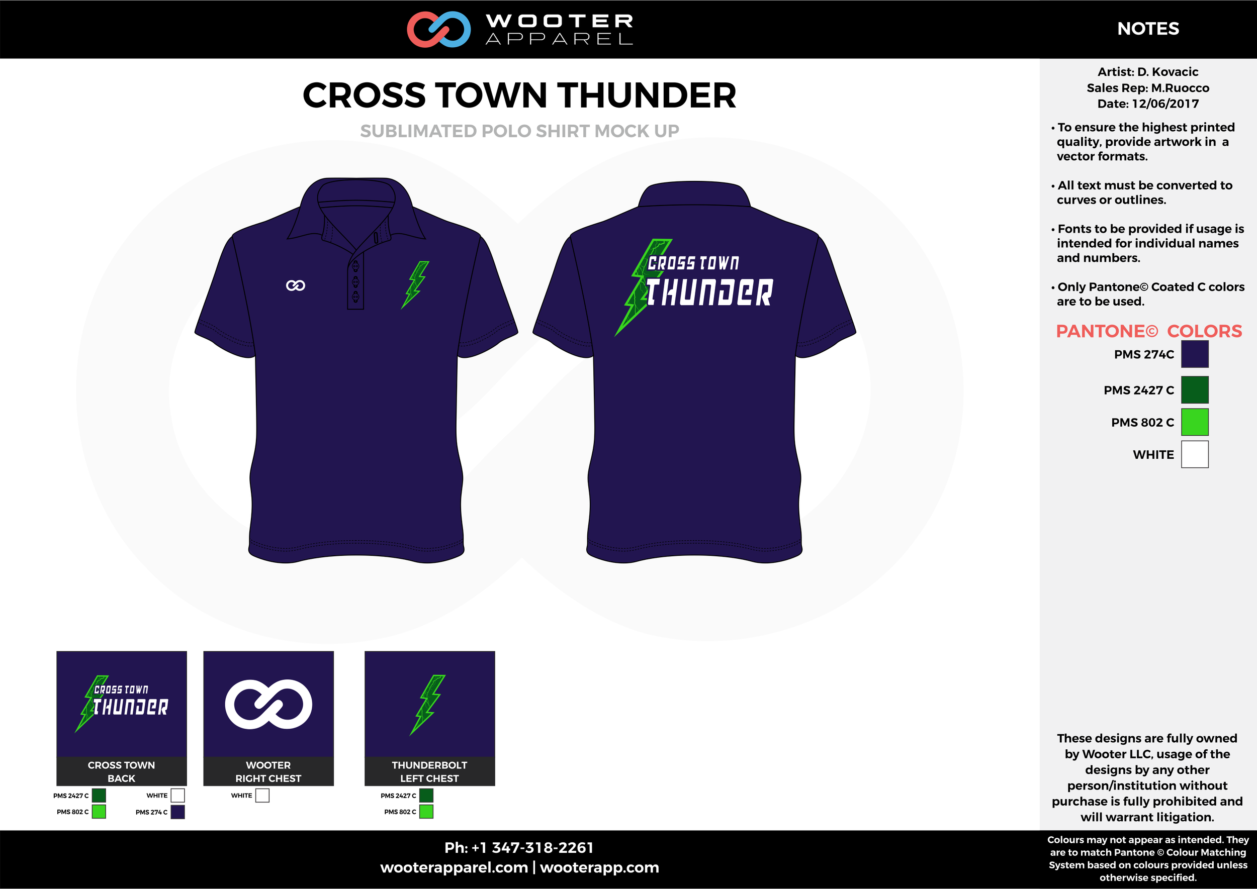 CROSS TOWN THUNDER Blue Green and White Sublimated Polo Shirts