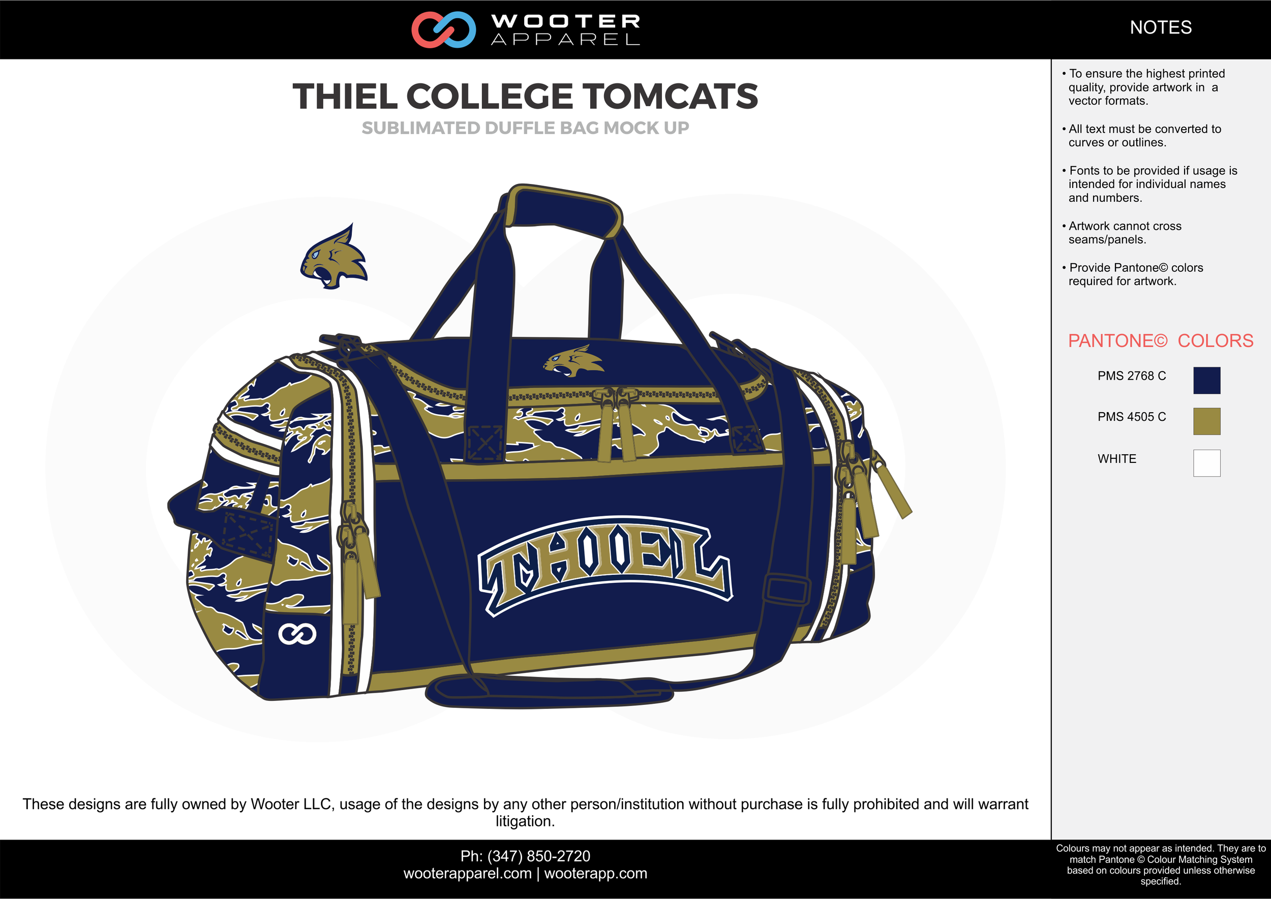 THIEL COLLEGE TOMCATS Blue Beige and White Football Duffle Bag