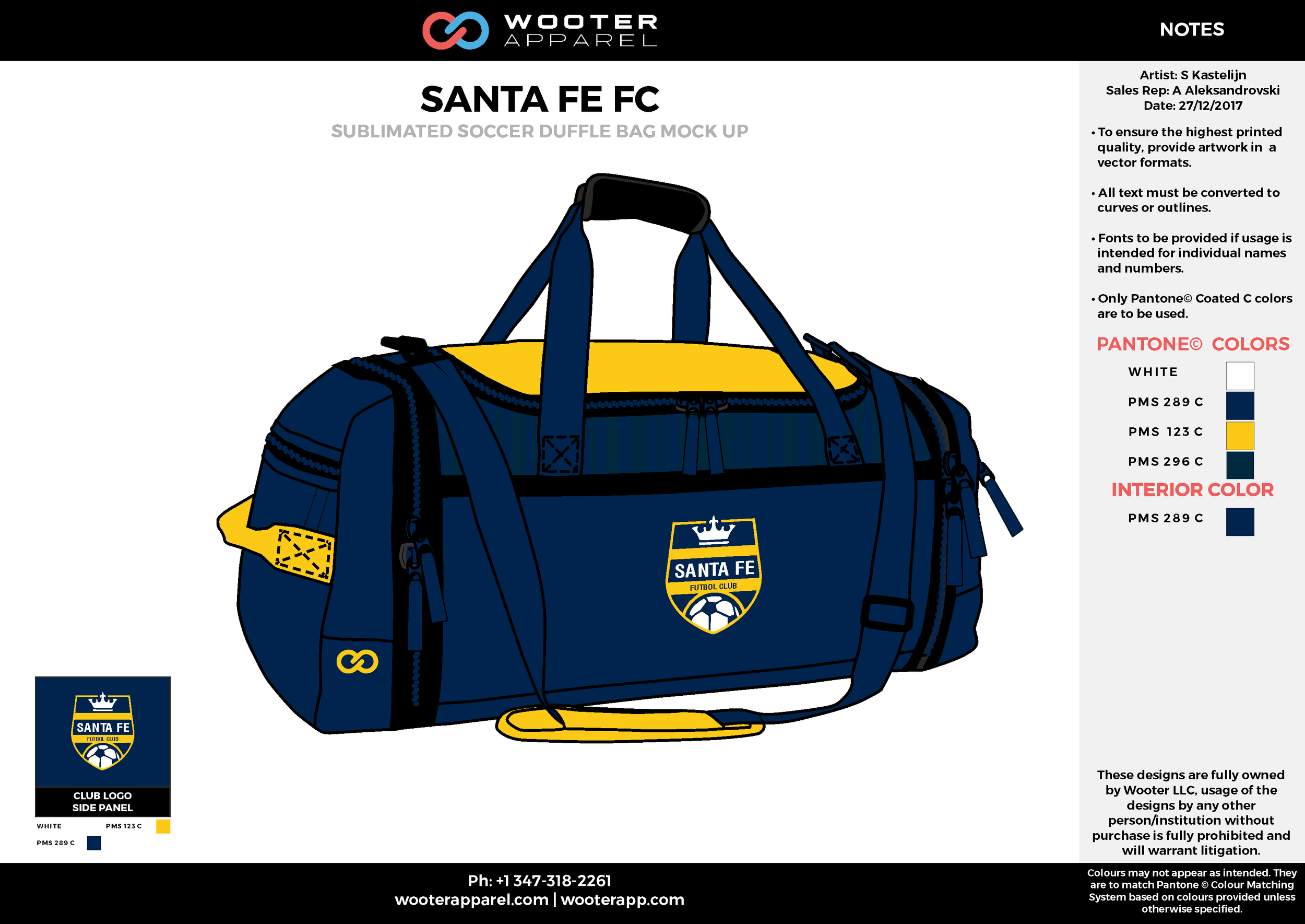 SANTA FE FC Blue Yellow Black and White Baseball Duffel Bag