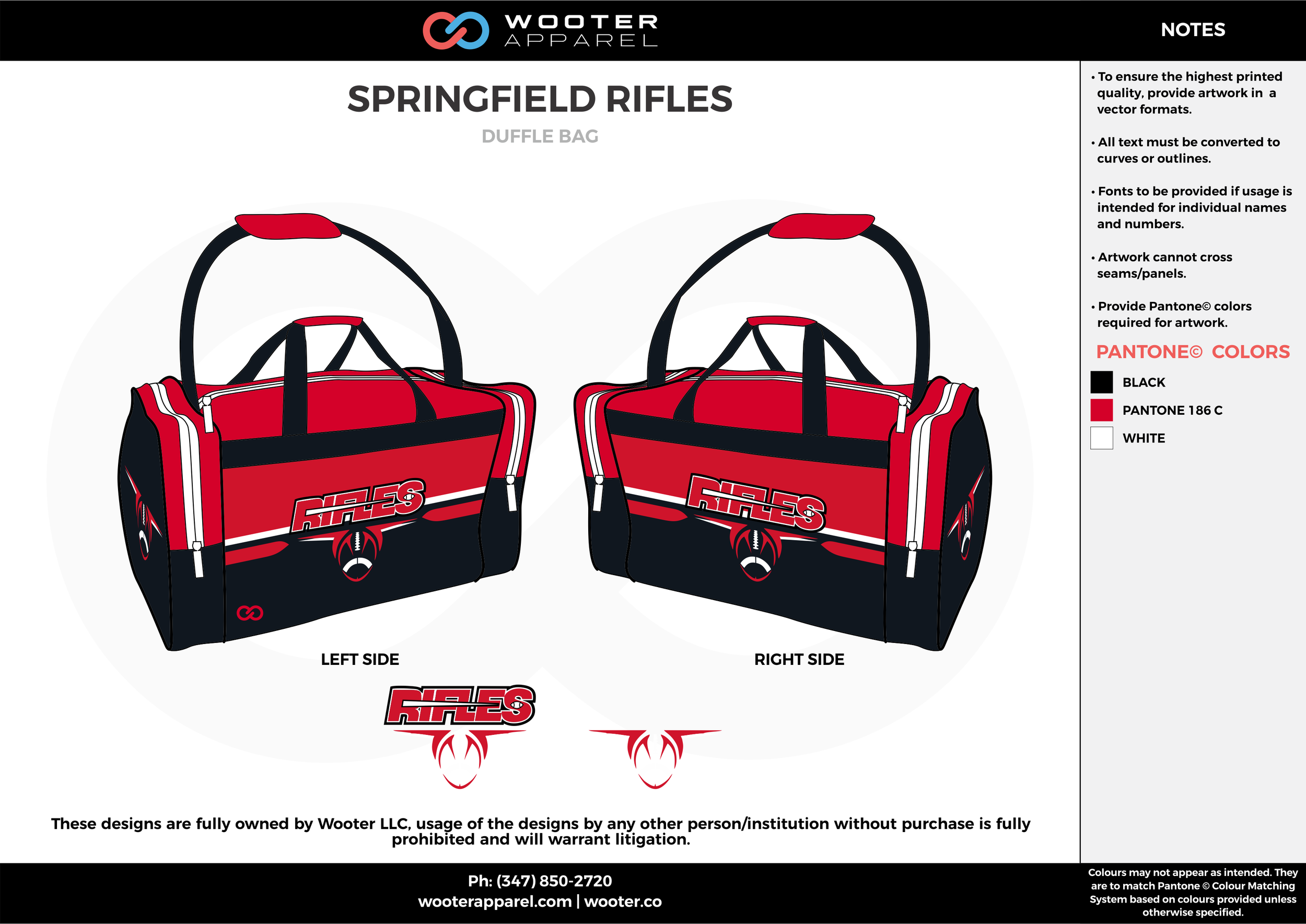 SPRINGFIELD RIFLES Red Black and White Football Duffel Bags