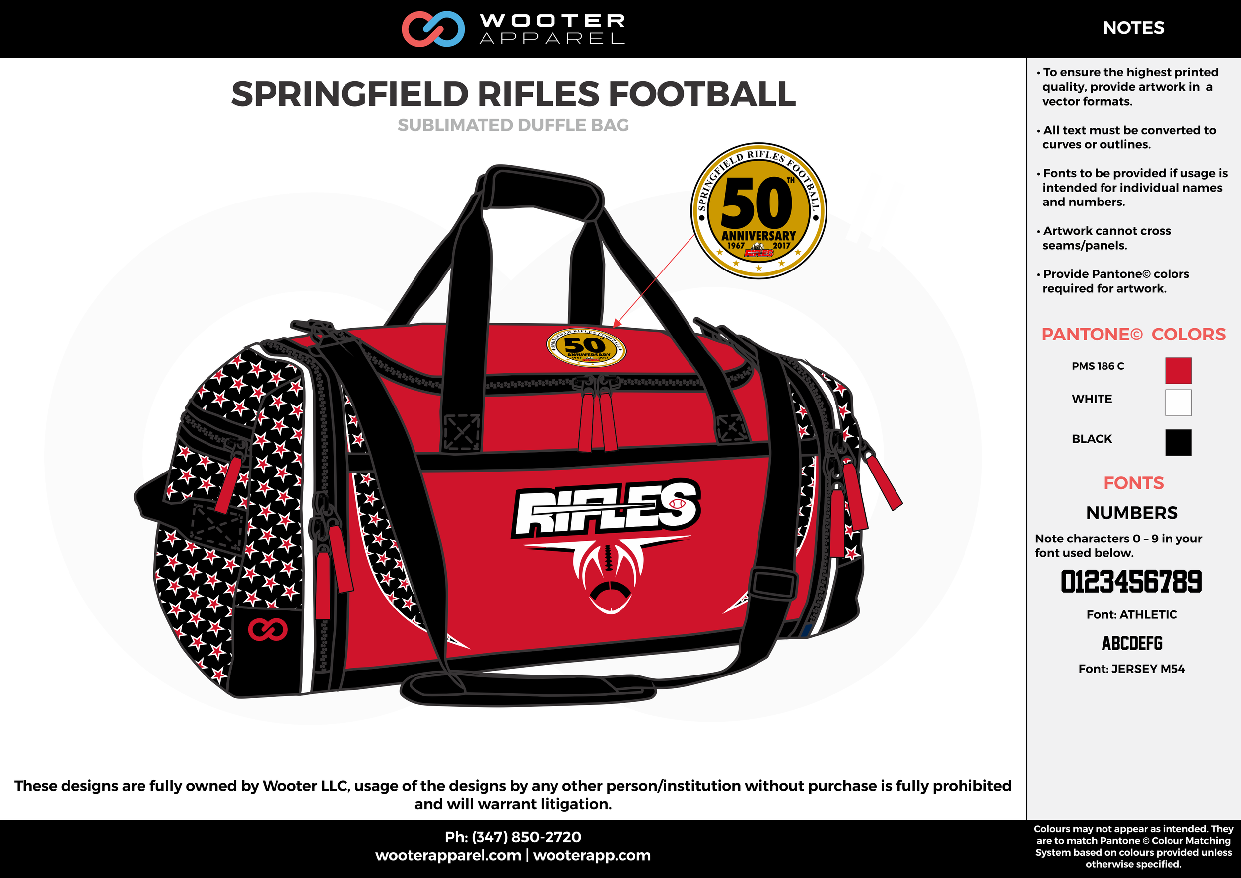 SPRINGFIELD RIFLES FOOTBALL Red White and Black Football Duffel Bag