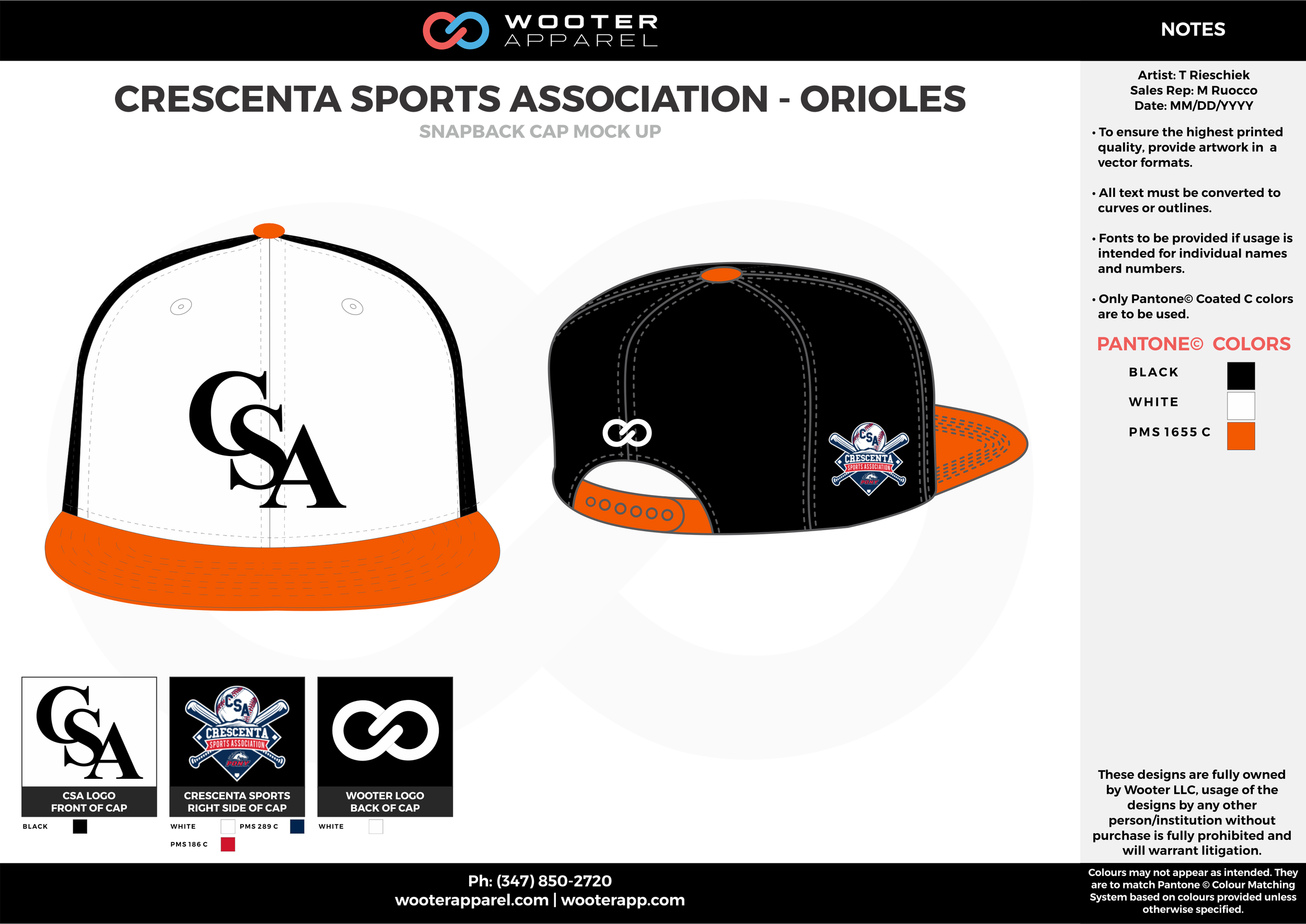 CRESCENTA SPORTS ASSOCIATION - ORIOLES Black White and Orange Basketball Snapback Hat and Cap