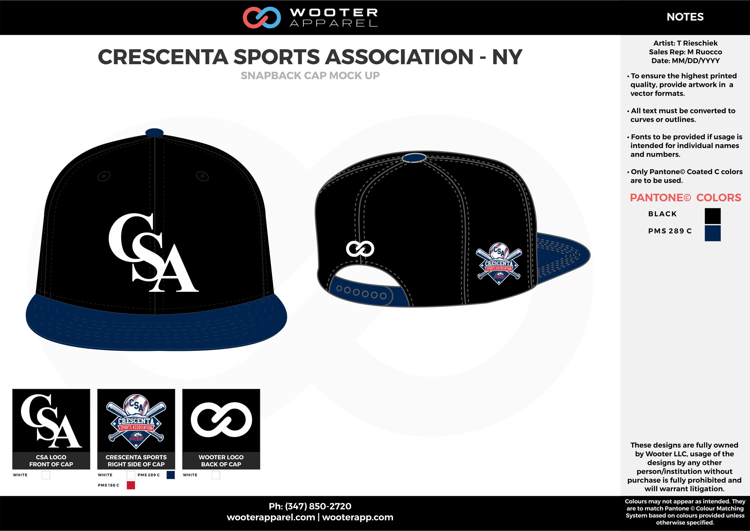 CRESCENTA SPORTS ASSOCIATION - NY Black Blue and White Basketball Snapback Hat and Cap