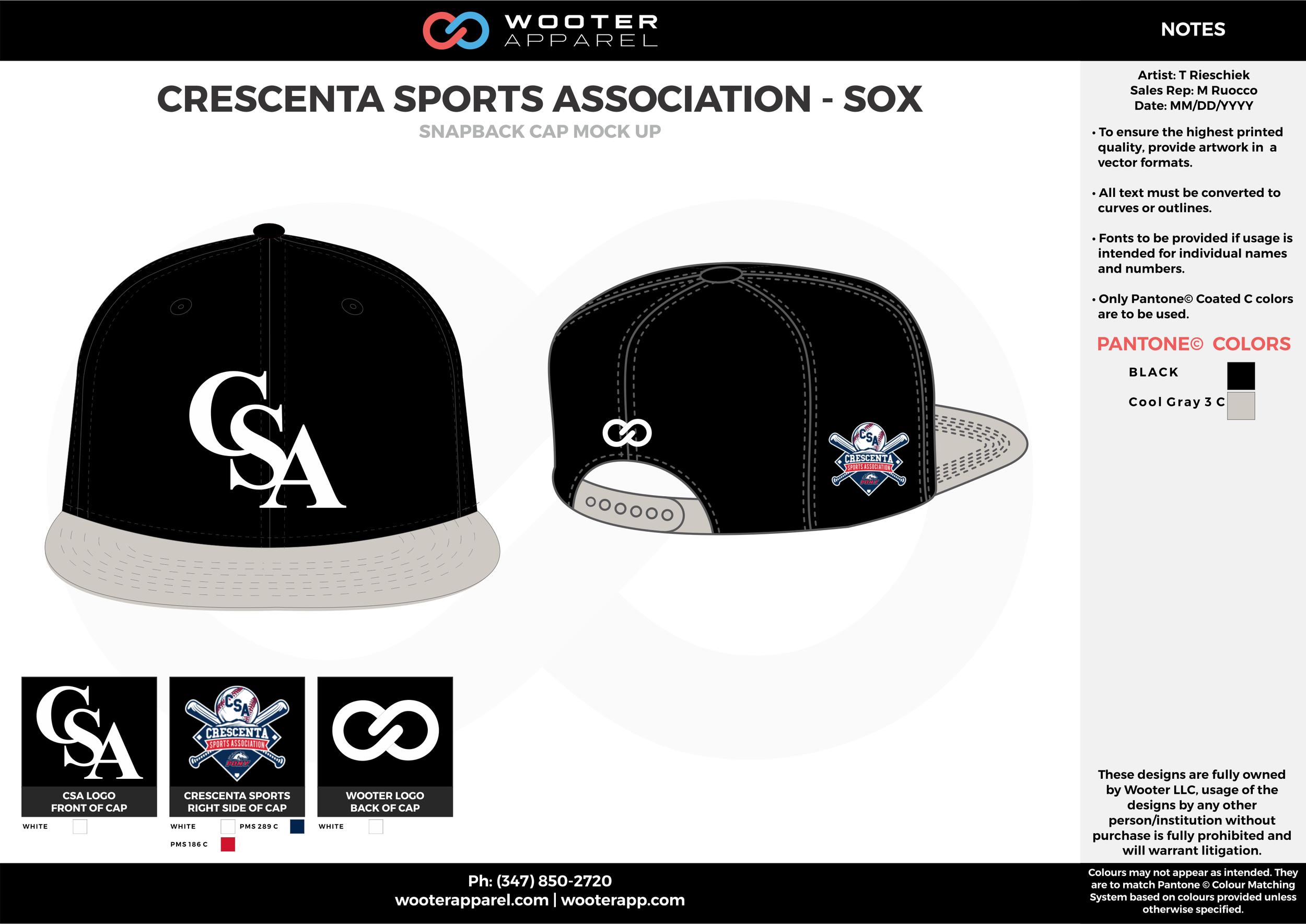 CRESCENTA SPORTS ASSOCIATION - SOX Black Gray white Basketball Snapback Hat and Cap