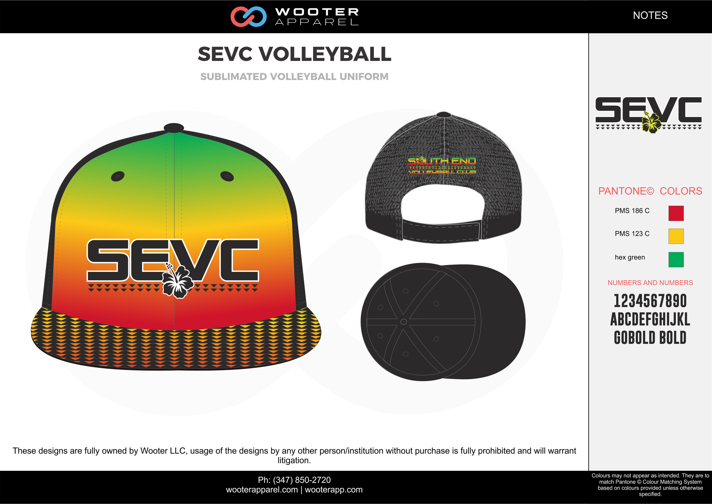 SEVC VOLLEYBALL Red Yellow and Green Volleyball Snapback Hat and Cap