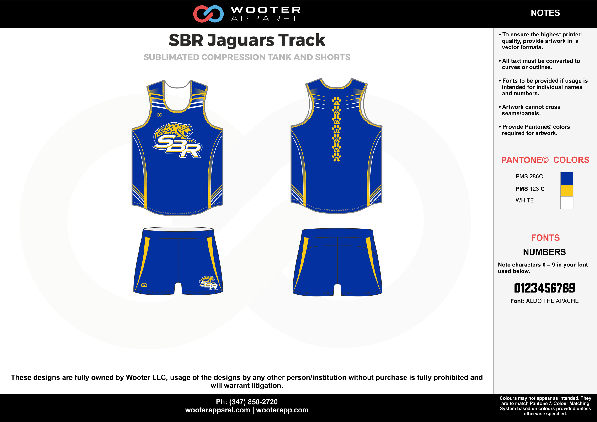 SBR Jaguars Track Blue White and Yellow Sublimated Compression Track uniforms tank and shorts
