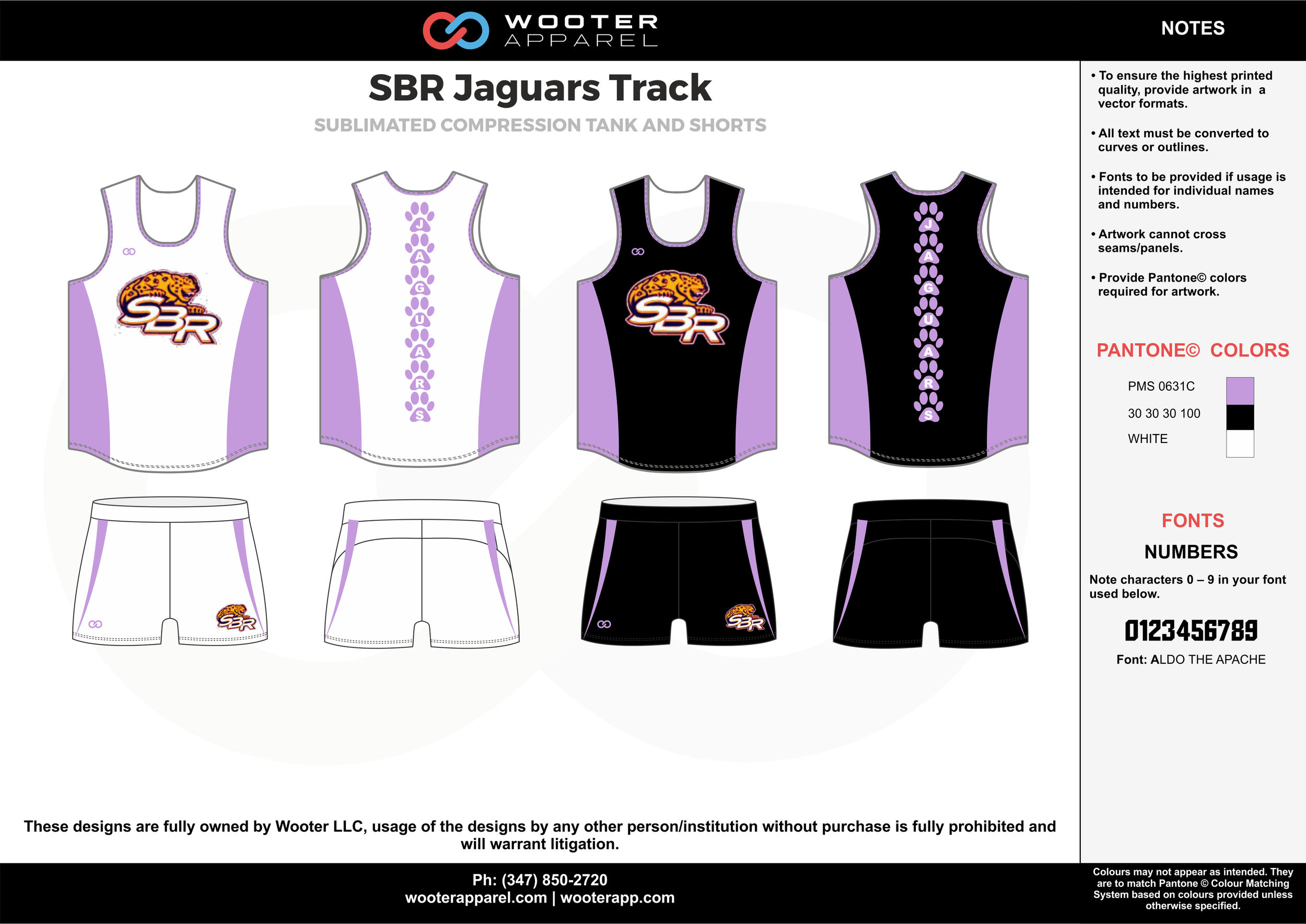 SBR Jaguars Track White Purple Yellow and Black Sublimated Compression Track Uniforms Tanks and Shorts