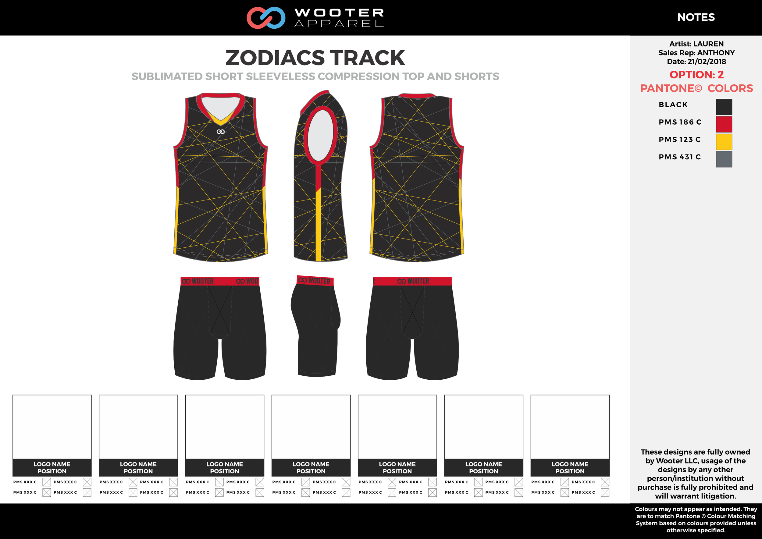ZODIACS TRACK Black Yellow and Red Sublimated Compression Track Uniforms Tanks and Shorts