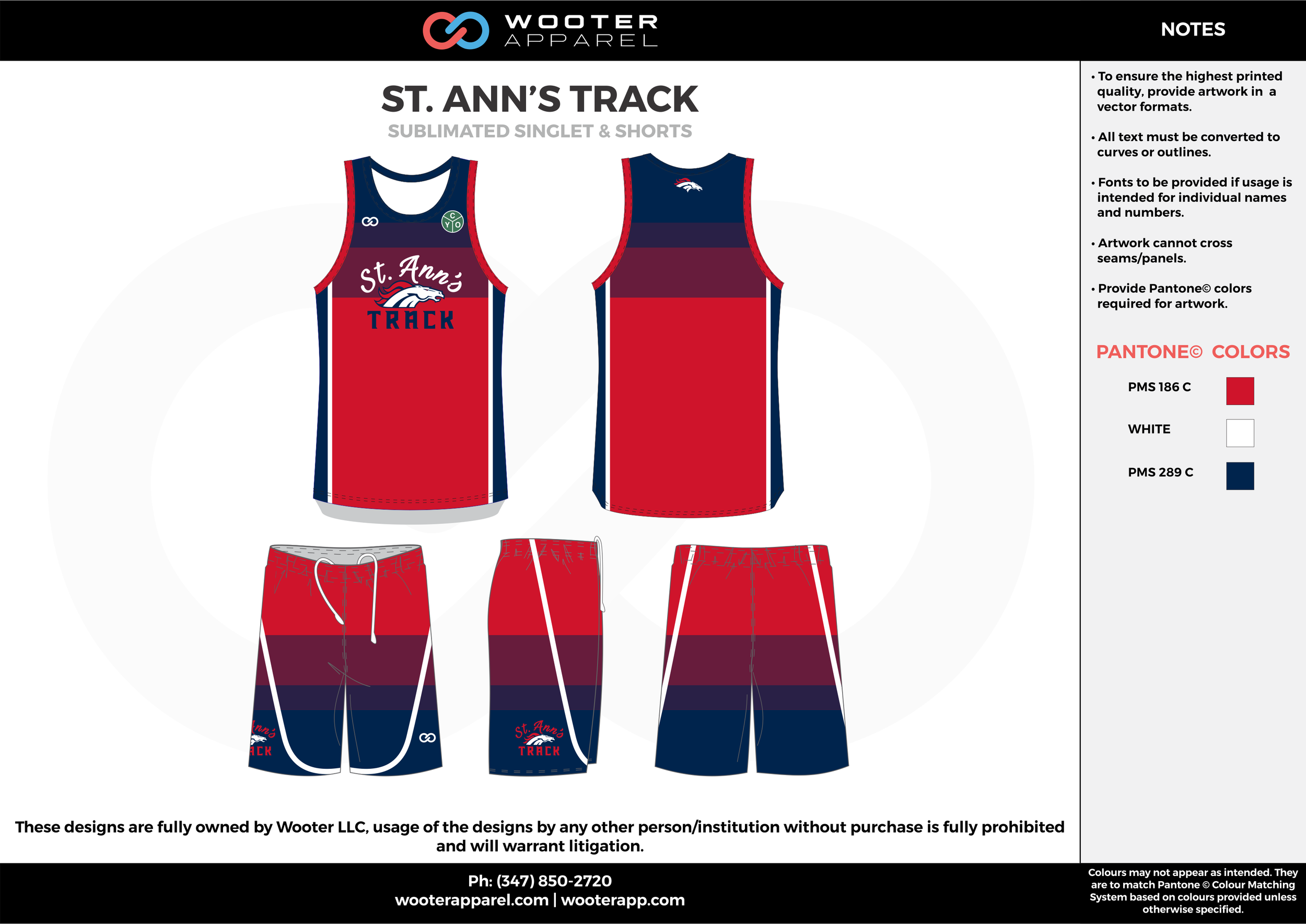 ST. ANN'S TRACK Red Blue and White Sublimated Basketball Track Uniforms Jerseys and Shorts