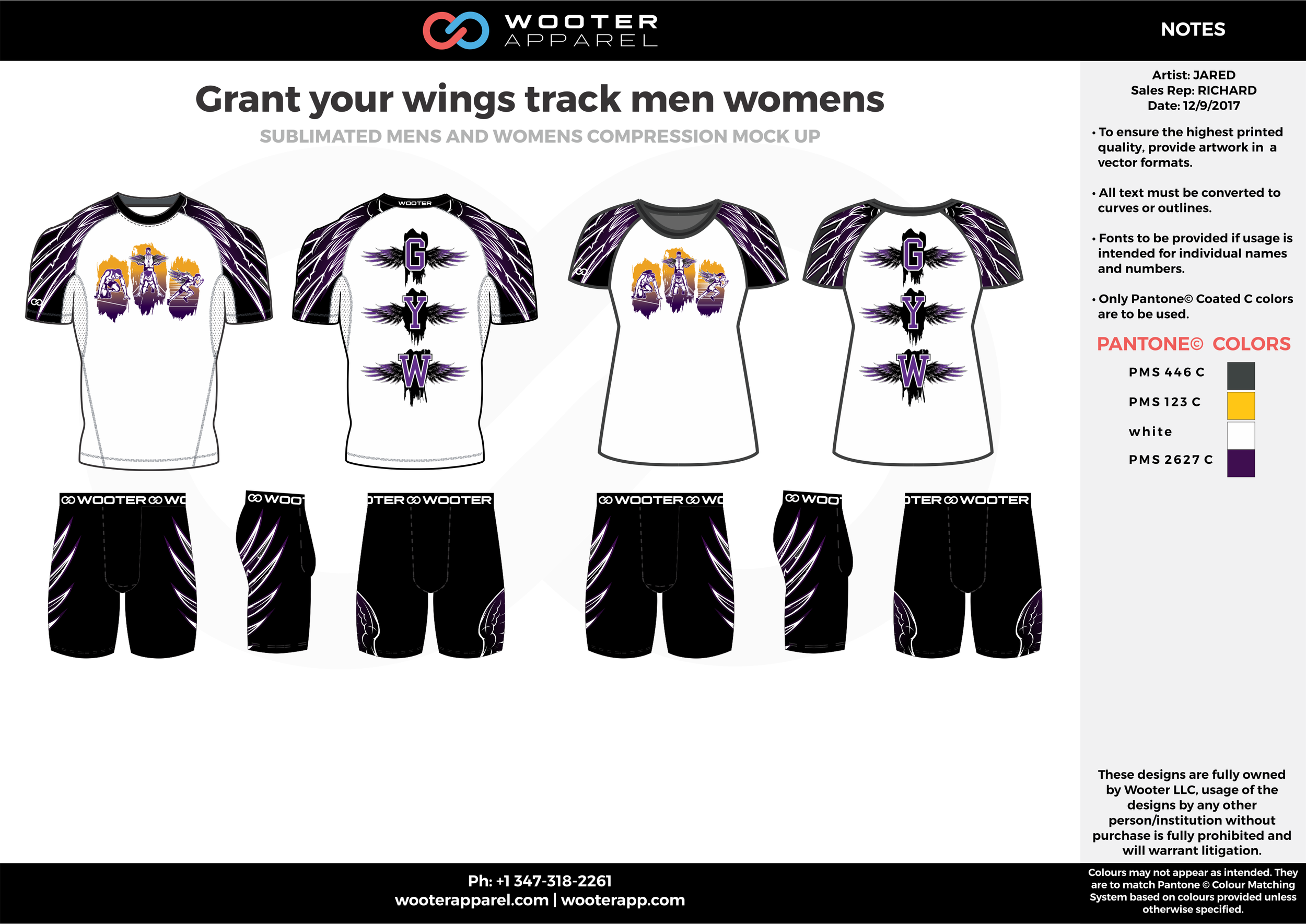 Crant your wings track men womens Black Yellow White and Purple Sublimated Compression Track Uniforms Shirts and Shorts