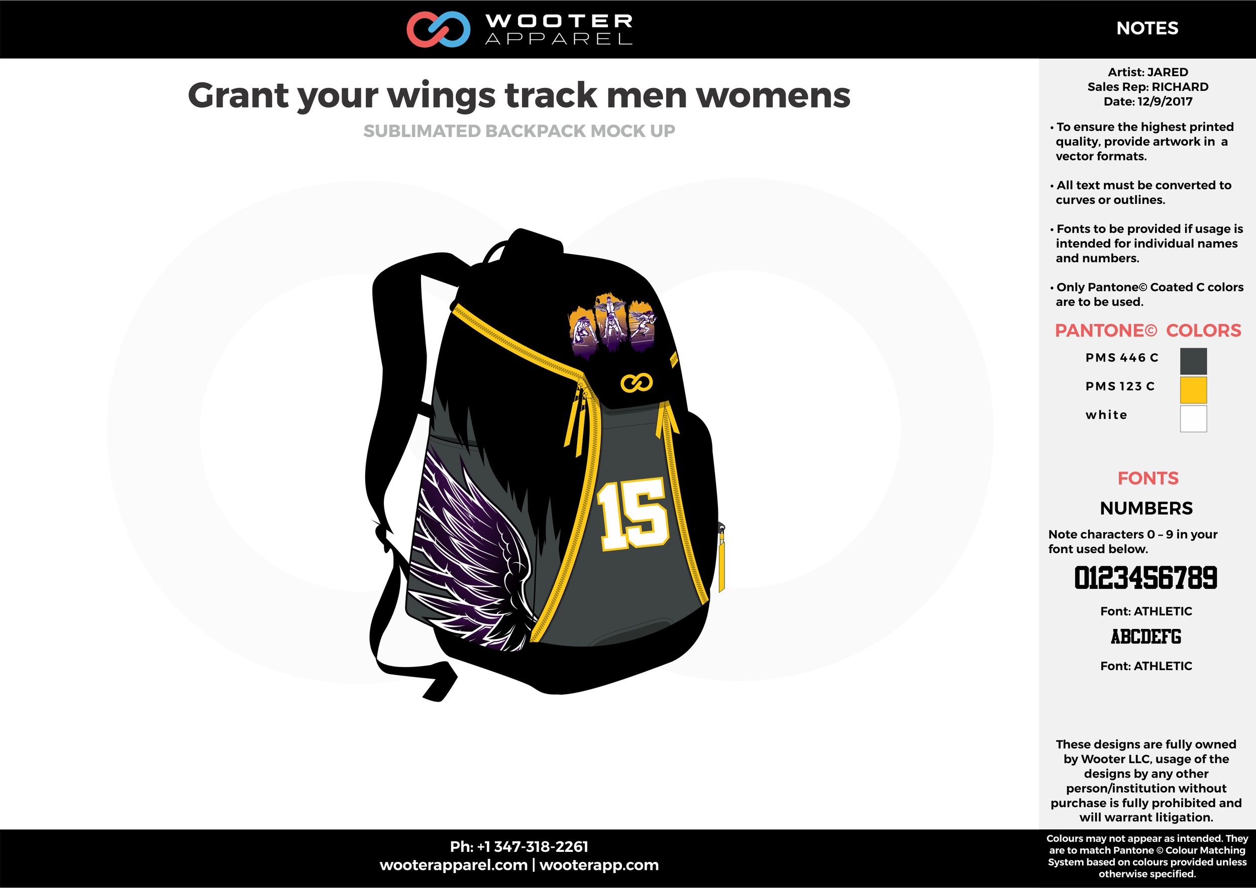 Crant your wings track men womens Black Yellow Purple and White Basketball Track Backpack