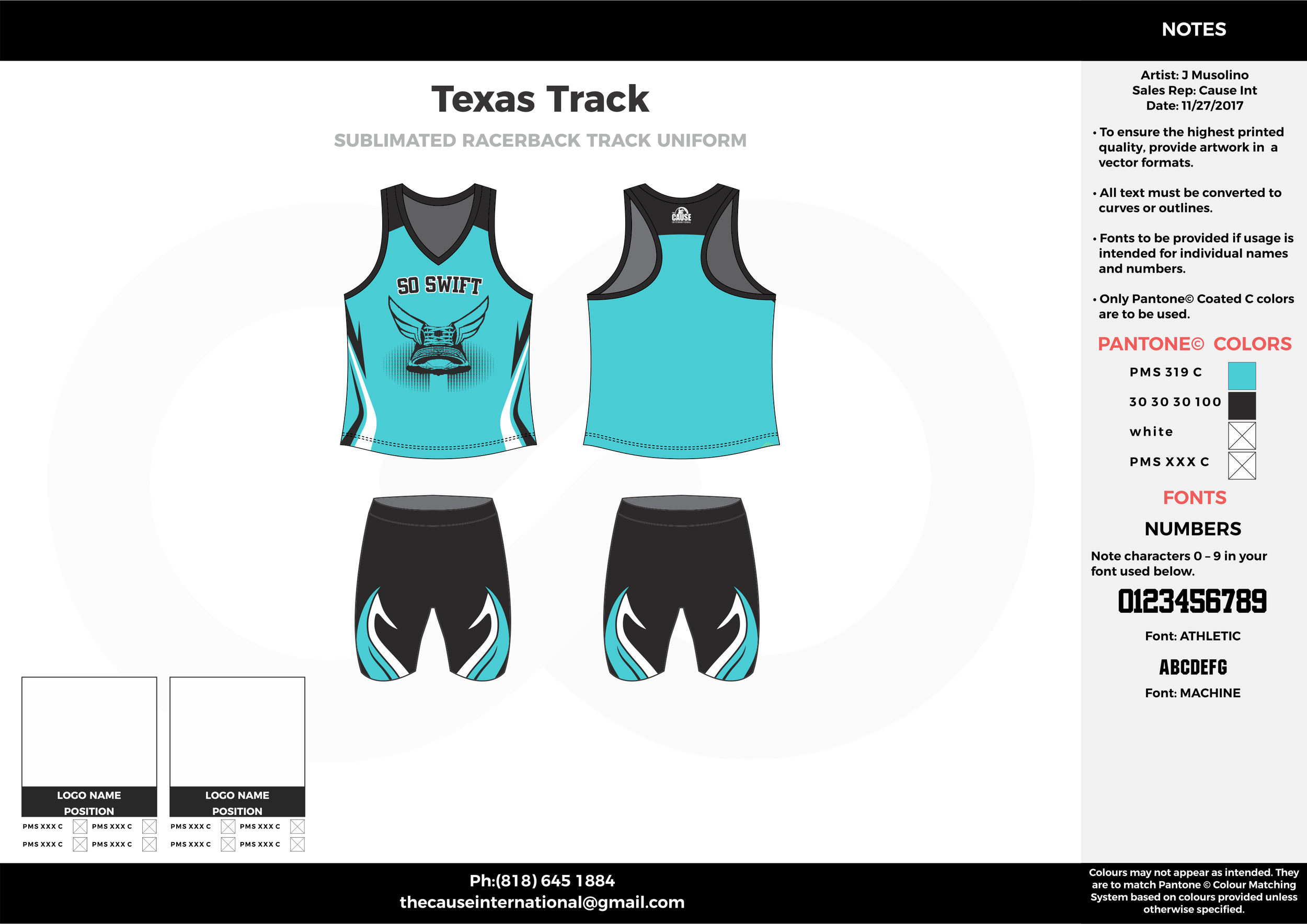 Texas Track Skyblue Black and white Sublimated Compression Track Uniforms tank and shorts