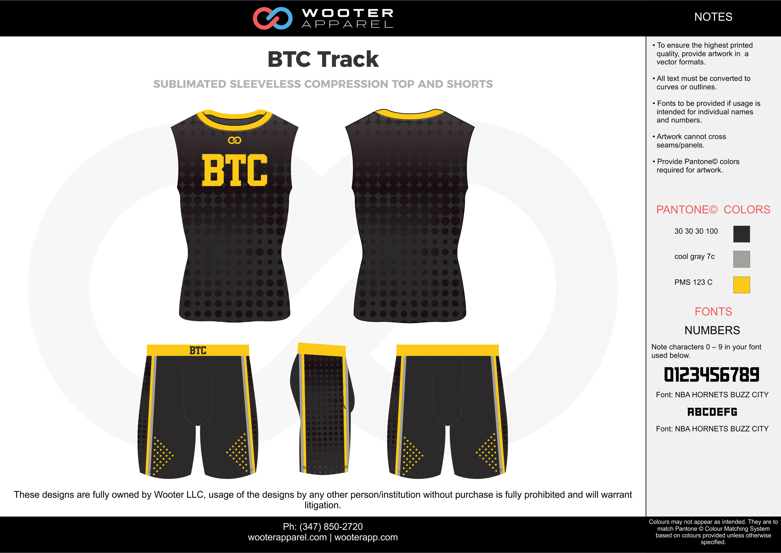 BTC Track Black Gray and Yellow Sublimated Compression Track Uniforms Sleeveless Shirts and shorts