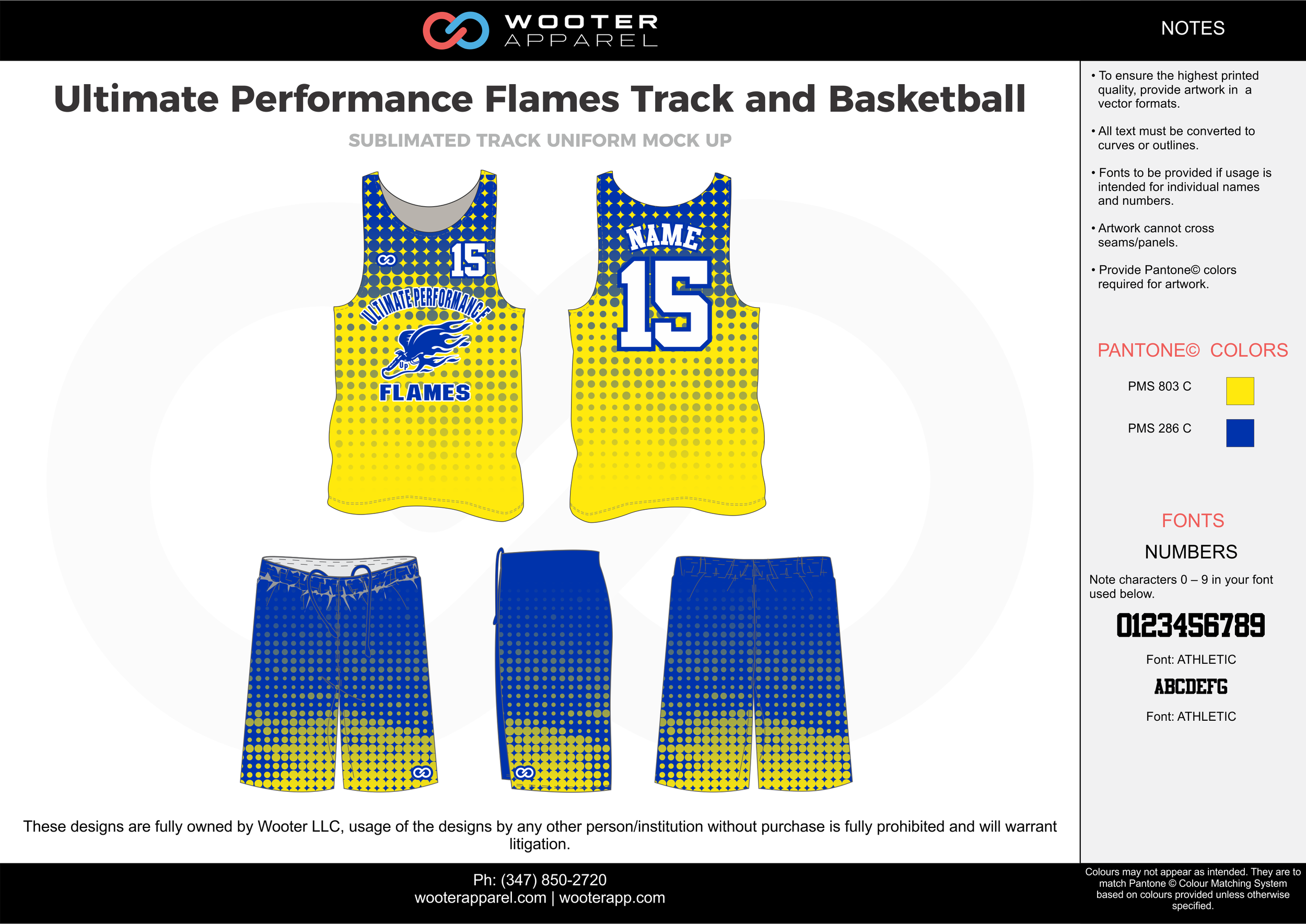 Ultimate Performance Flames Track and Basketball Yellow Blue and White Basketball Uniforms Jerseys and Shorts