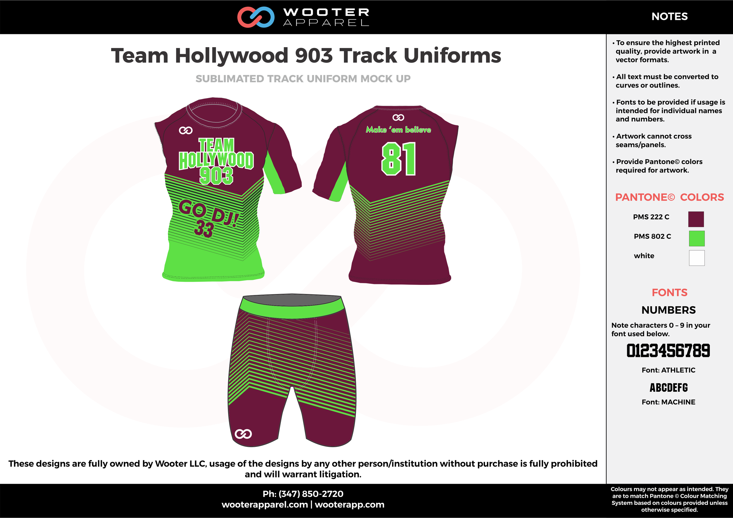 Team Hollywood 903 Track Uniforms Maroon Green and white Sublimated Compression Track Uniforms Shirts and Shorts