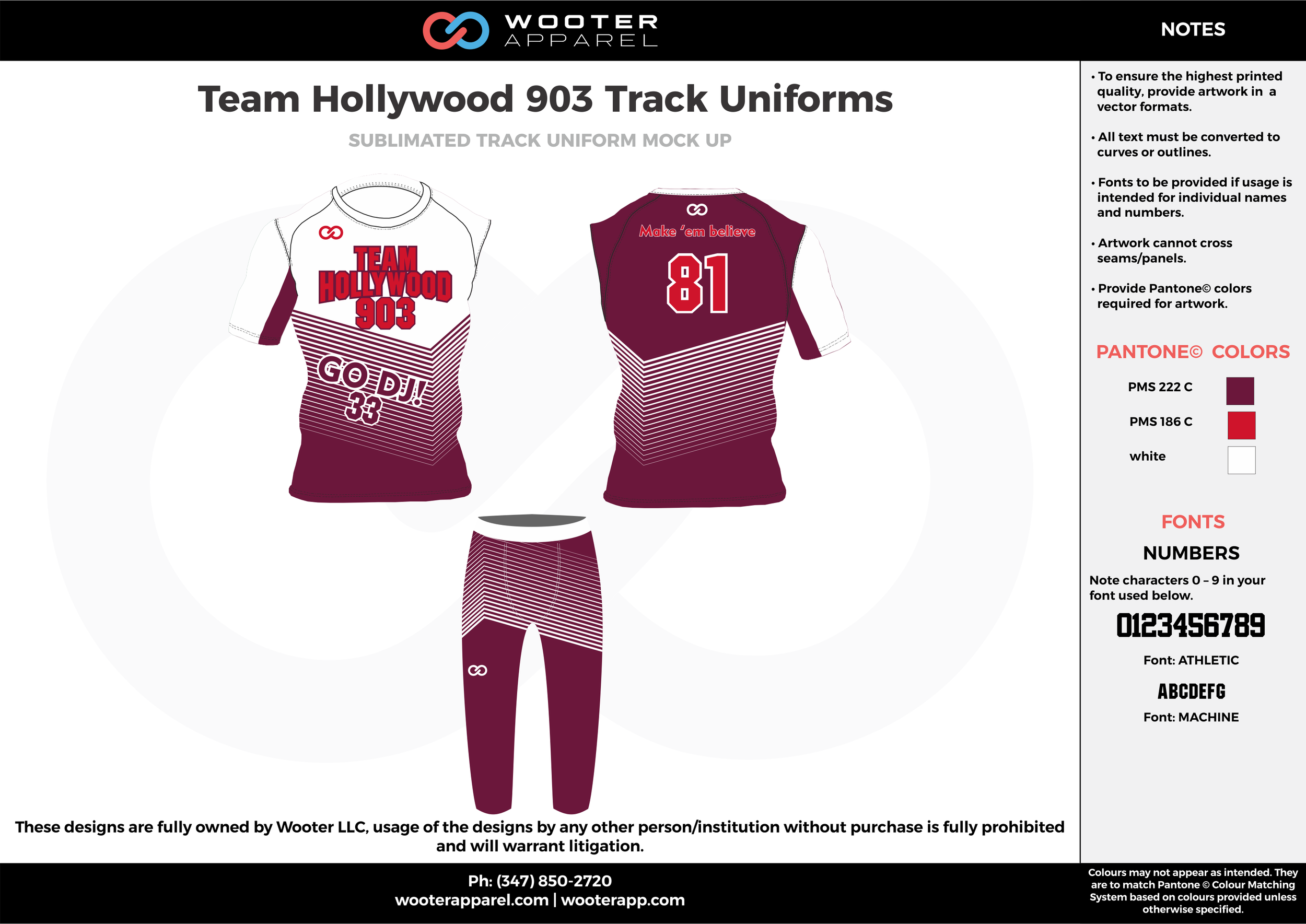 Team Hollywood 903 Track Uniforms Maroon Red and white Sublimated Compression Track Uniforms Shirts and pants