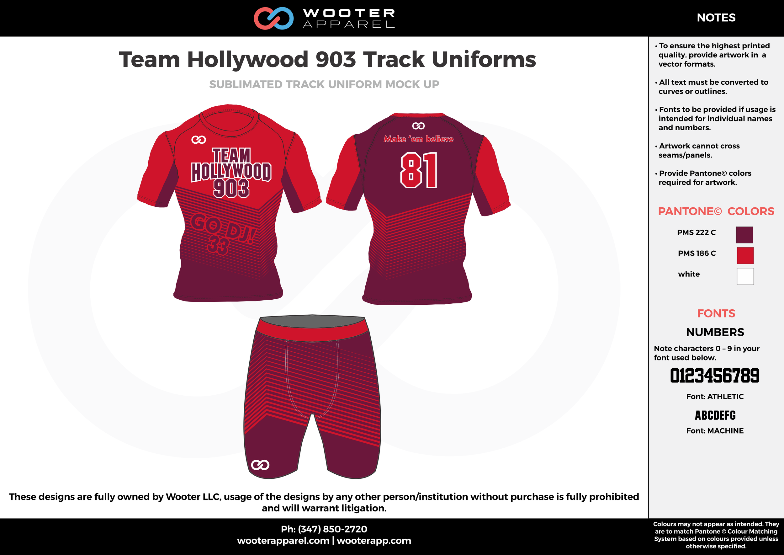 Team Hollywoods 903 Track Uniforms Maroon Red and white Sublimated Compression Track Uniforms Shirts and short