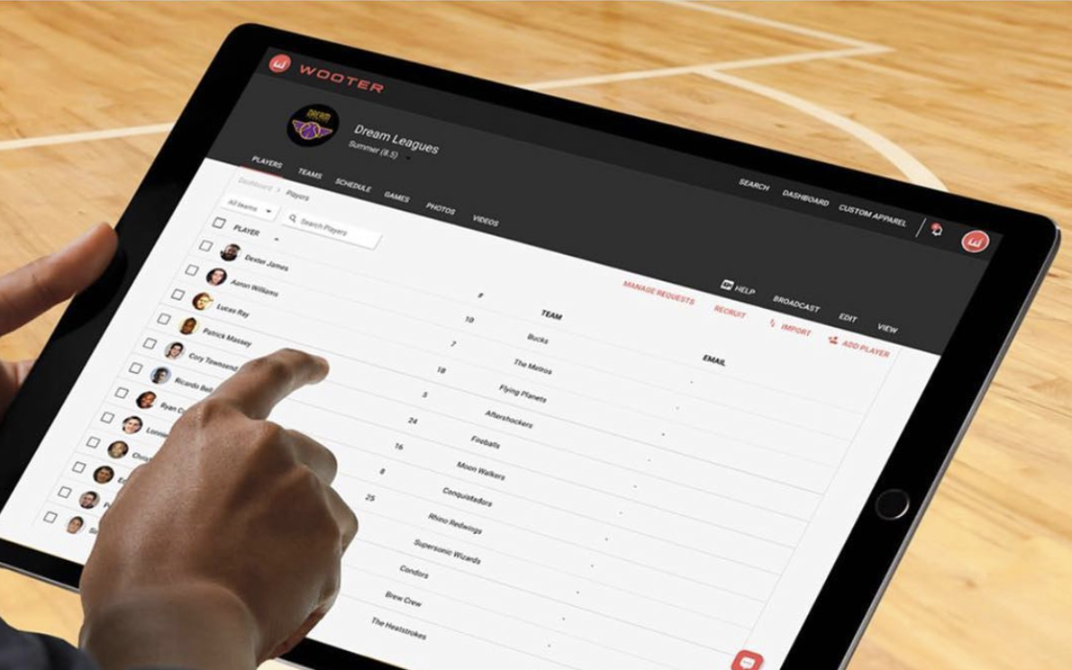 With the Wooter App, you can keep track of your players and teams stats as well as the schedule for those teams. You will also be able to order team uniforms and apparel for your teams players.