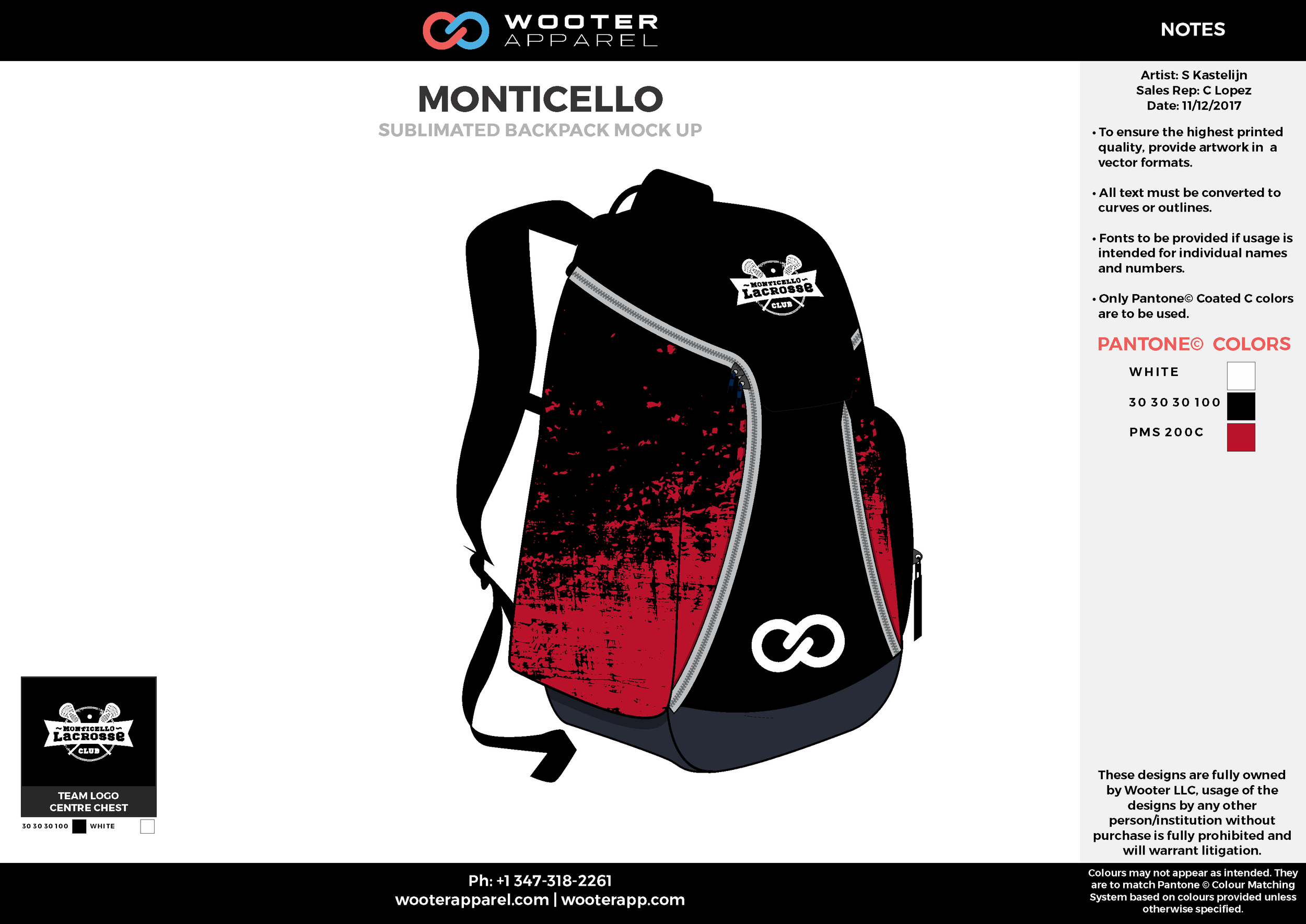 MONTICELLO Black Red White Gray Sublimated Backpack Mockup