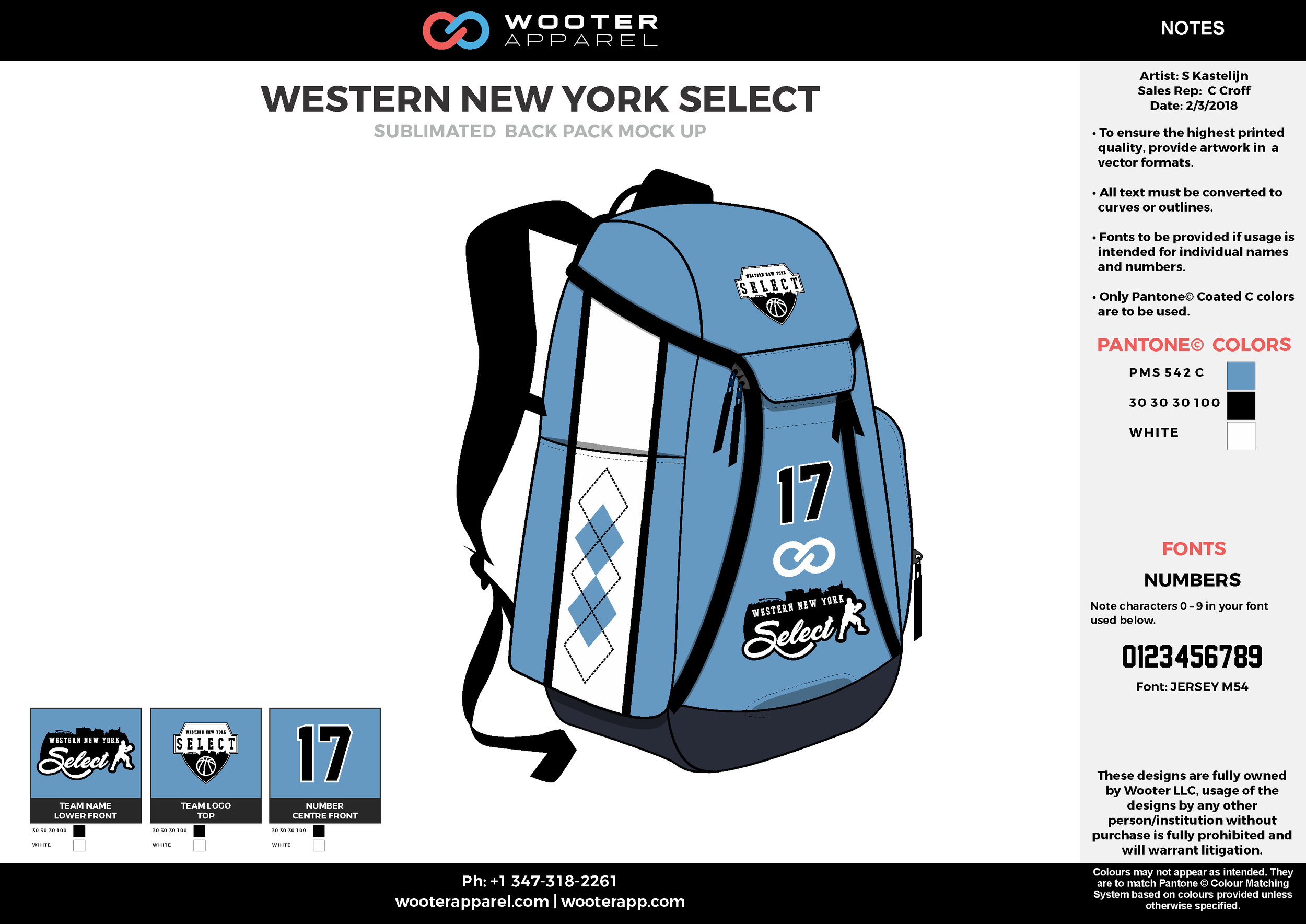 WESTERN NEW YORK SELECT Blue White Black Gray Sublimated Backpack Mock Up