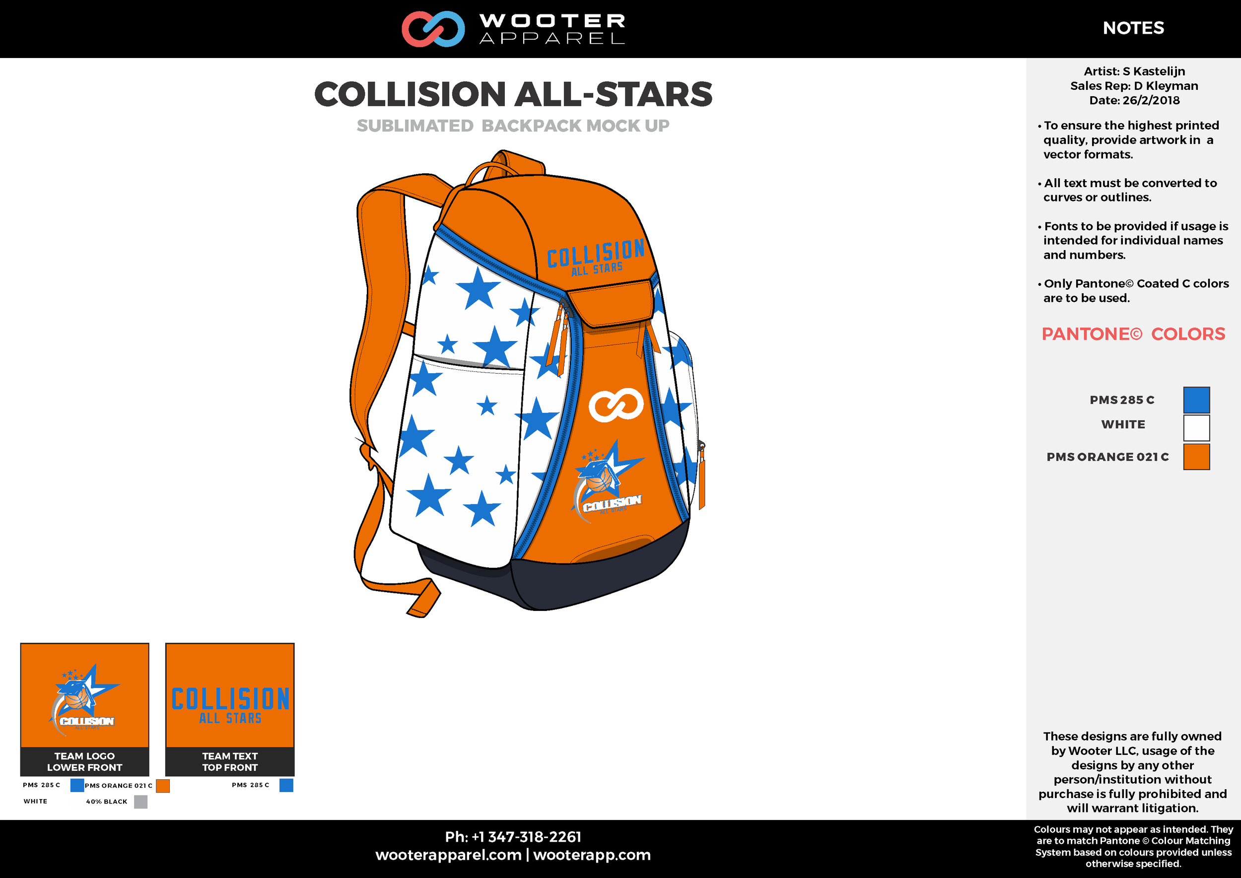 COLLISION ALL-STARS Orange White Blue Gray Sublimated Backpack Mock Up