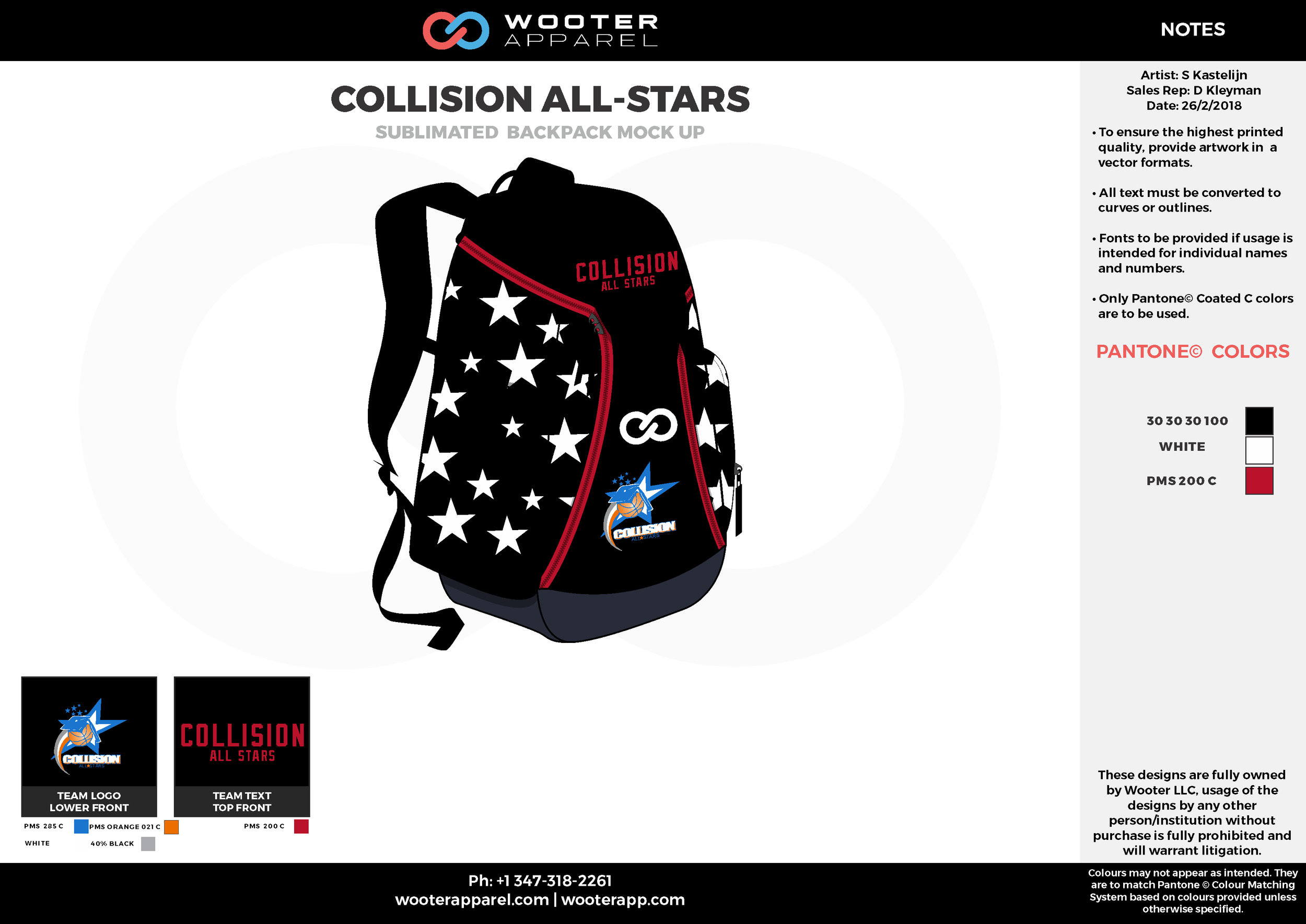 COLLISION ALL-STARS Black White Red Blue Gray Sublimated Backpack Mock Up