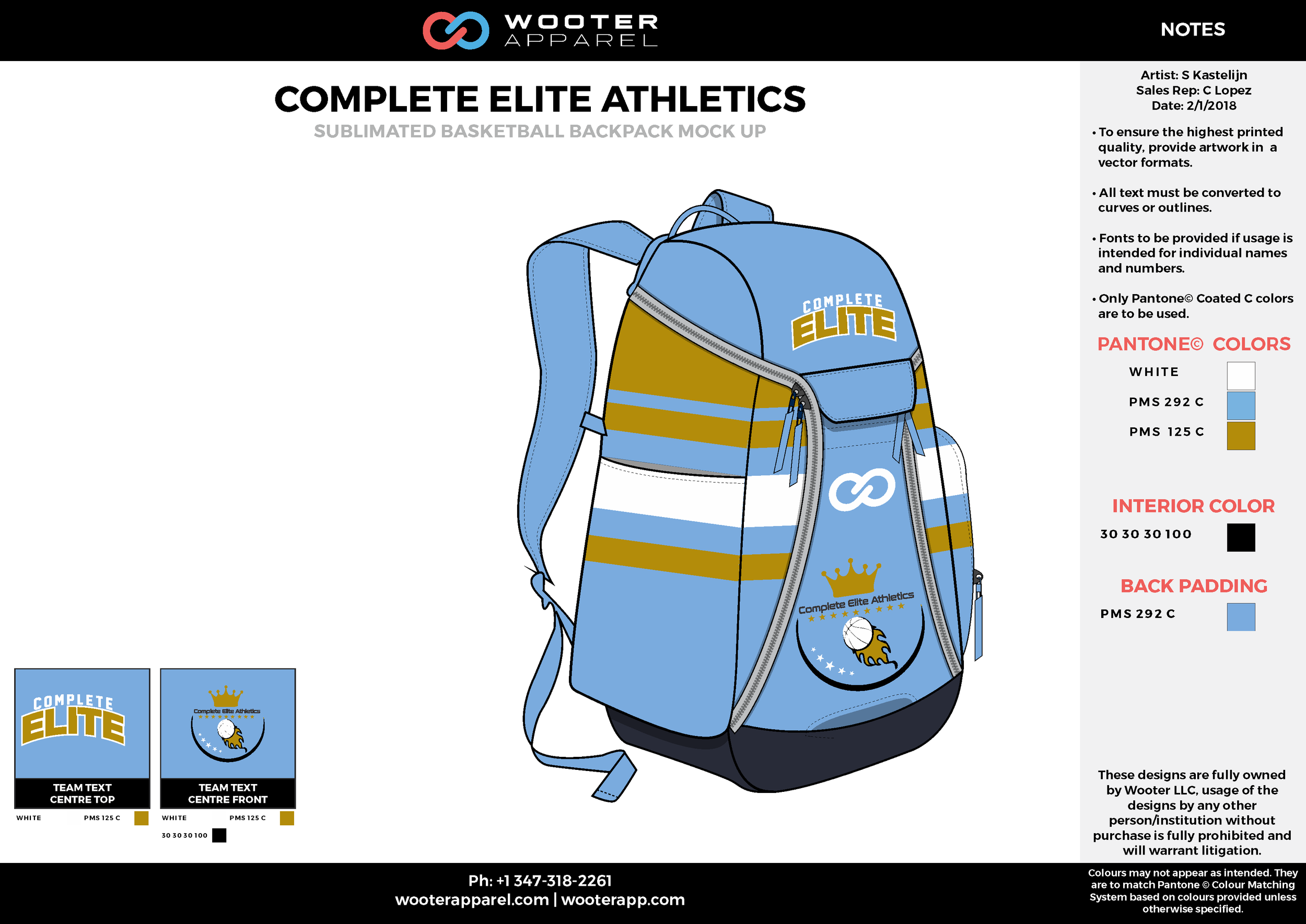 COMPLETE ELITE ATHLETICS Blue Yellow White Gray Sublimated Basketball Backpack Mock Up