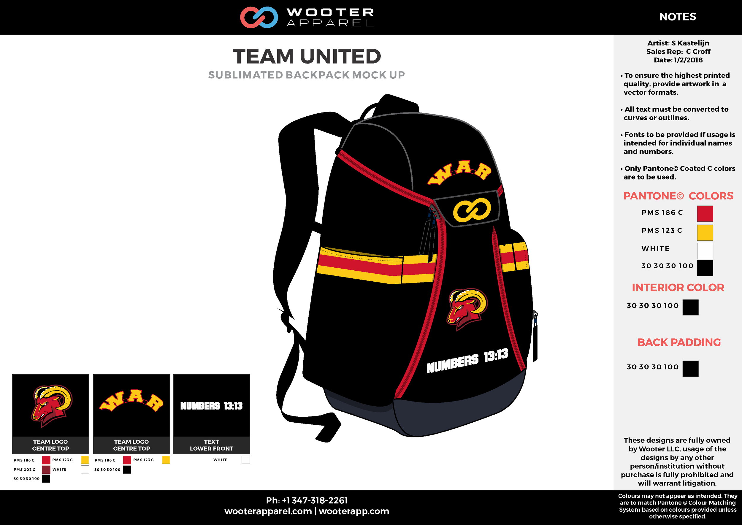 TEAM UNITED Black Yellow Red White Gray Sublimated Backpack Mock Up