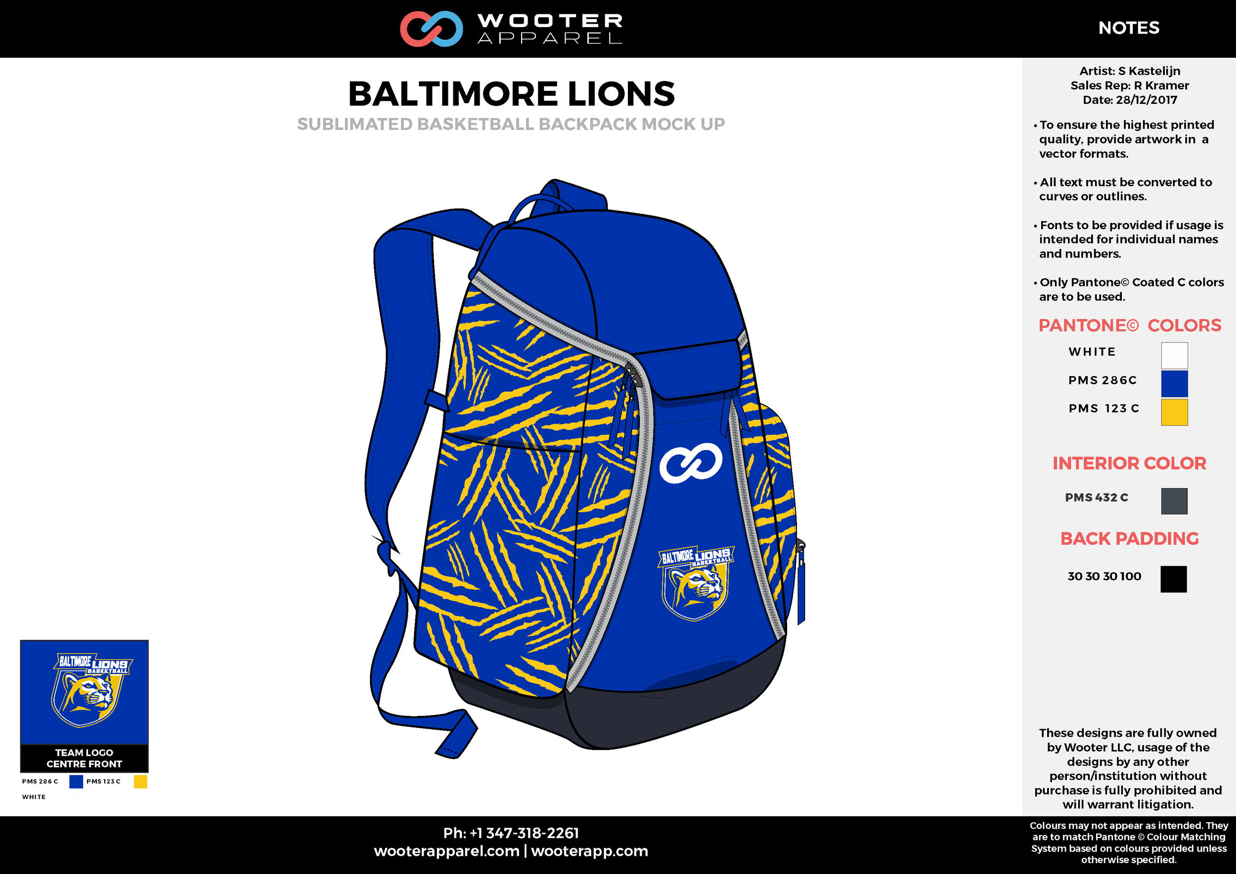 BALTIMORE LIONS Blue Yellow White Black Sublimated Basketball Backpack Mock Up