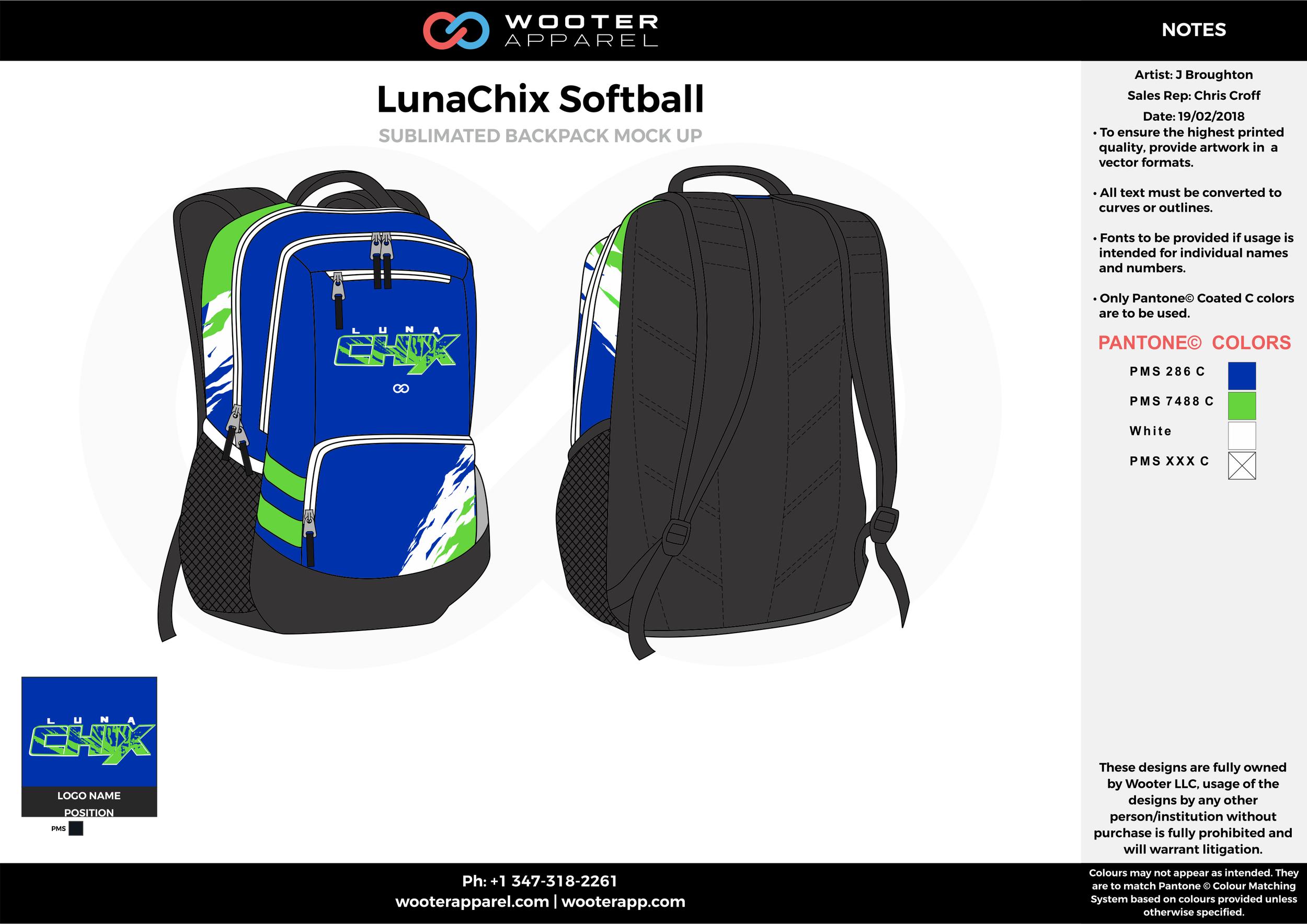 LUNACHIX Blue Green White Sublimated Softball Backpack Mock Up