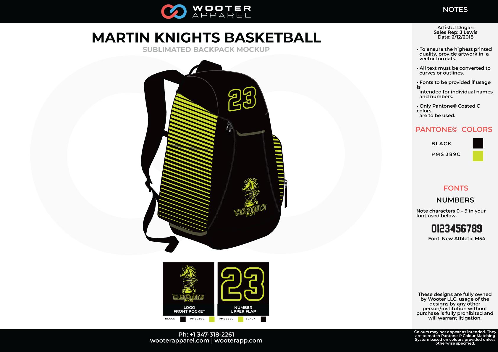MARTIN KNIGHTS Black Yellow/Green Sublimated Basketball Backpack Mock Up