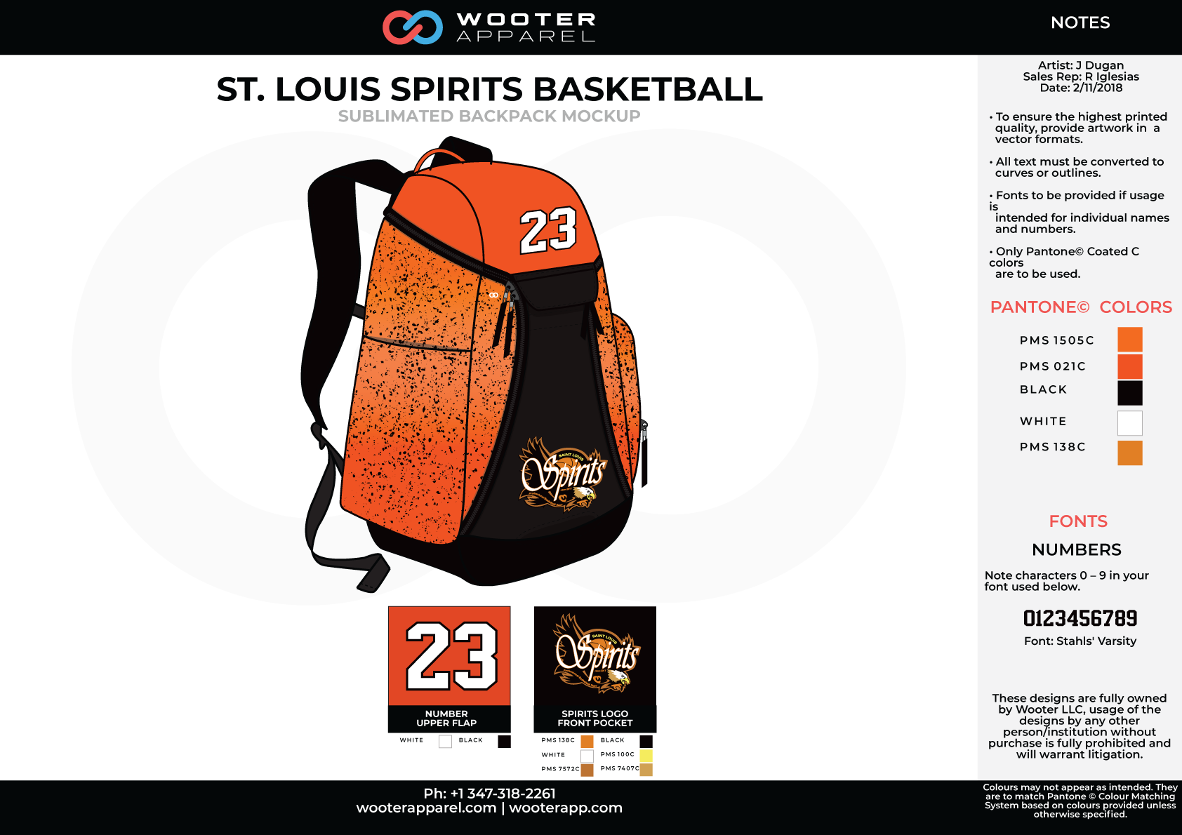 ST. LOUIS SPIRITS Orange Black White Sublimated Basketball Backpack Mock Up