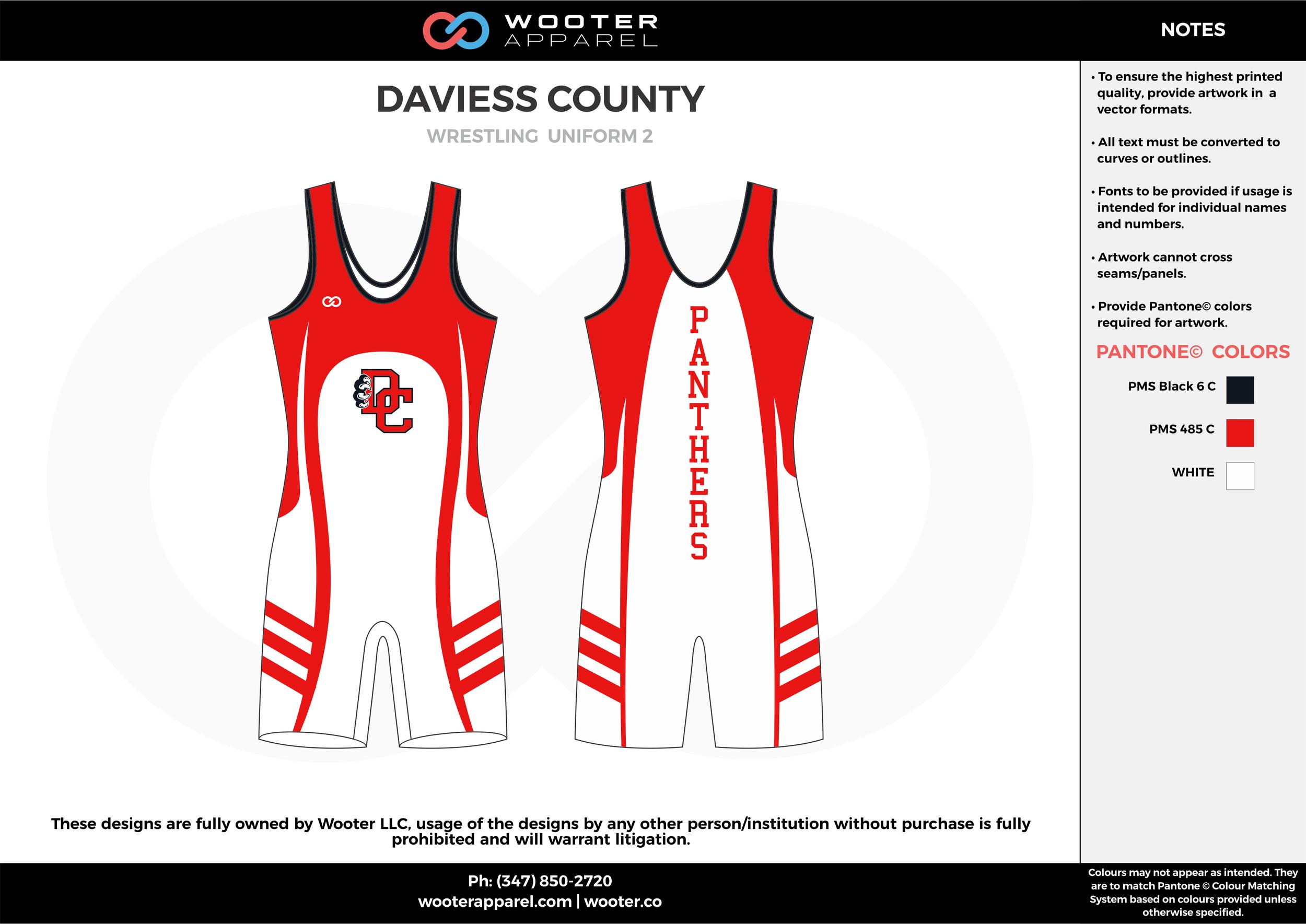 DAVIESS COUNTY Red White Wrestling Uniform 2