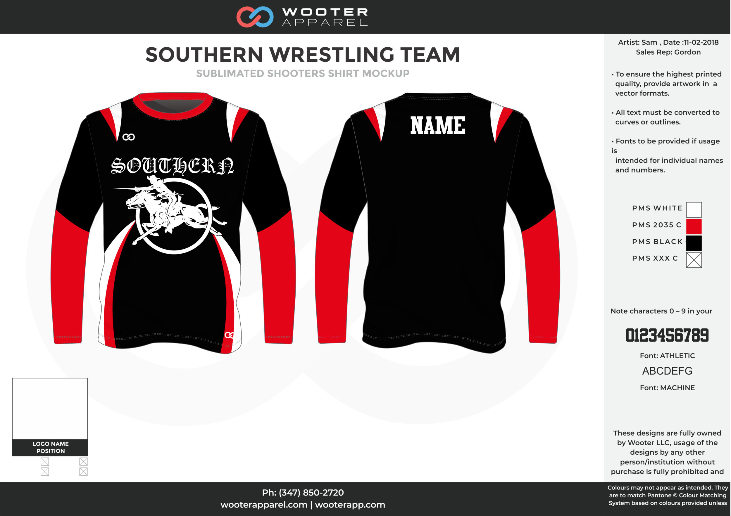 SOUTHERN WRESTLING TEAM Black Red White Sublimated Wrestling Shooters Shirt